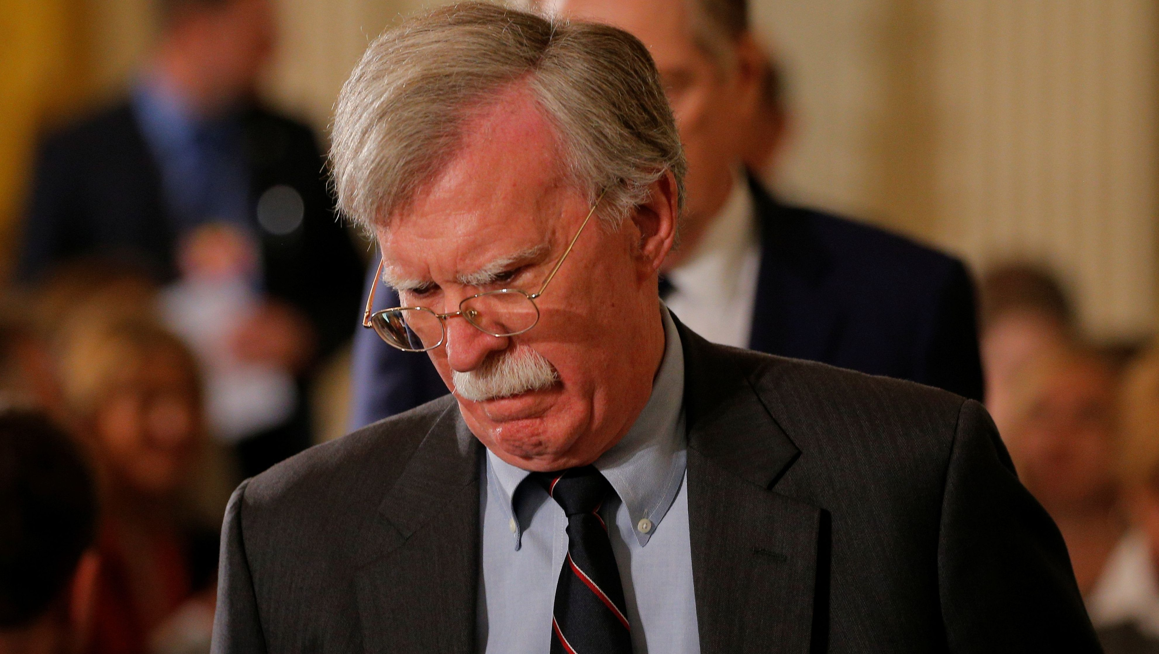 National Security Advisor John Bolton arrives before a joint news conference of U.S. President Donald Trump and Germany's Chancellor Angela Merkel in the East Room of the White House in Washington, U.S., April 27, 2018. REUTERS/Brian Snyder - RC148D30EDF0