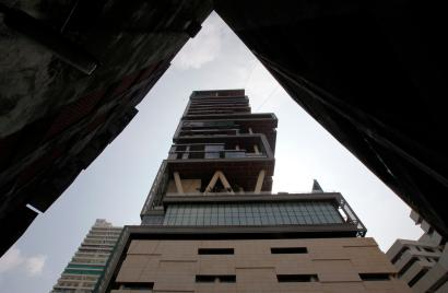The house of Mukesh Ambani, chairman of Indian energy company Reliance Industries, is seen in Mumbai