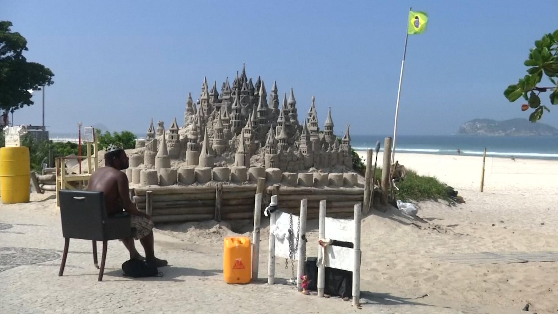 King of a sandcastle in Rio de Janeiro, Brazil.