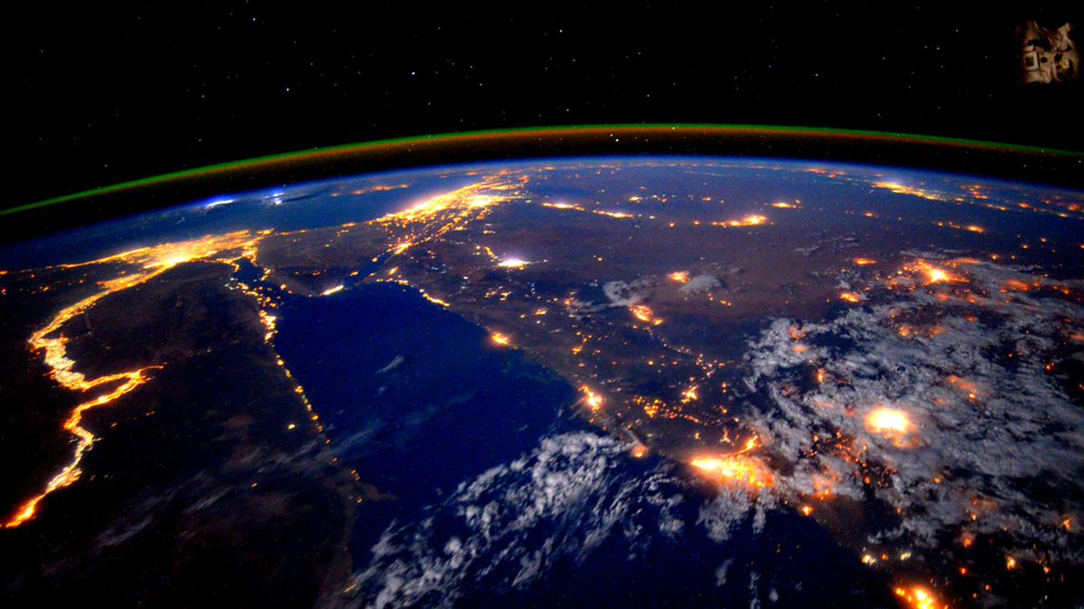 The Nile is seen at night during a flyover of the International Space Station.