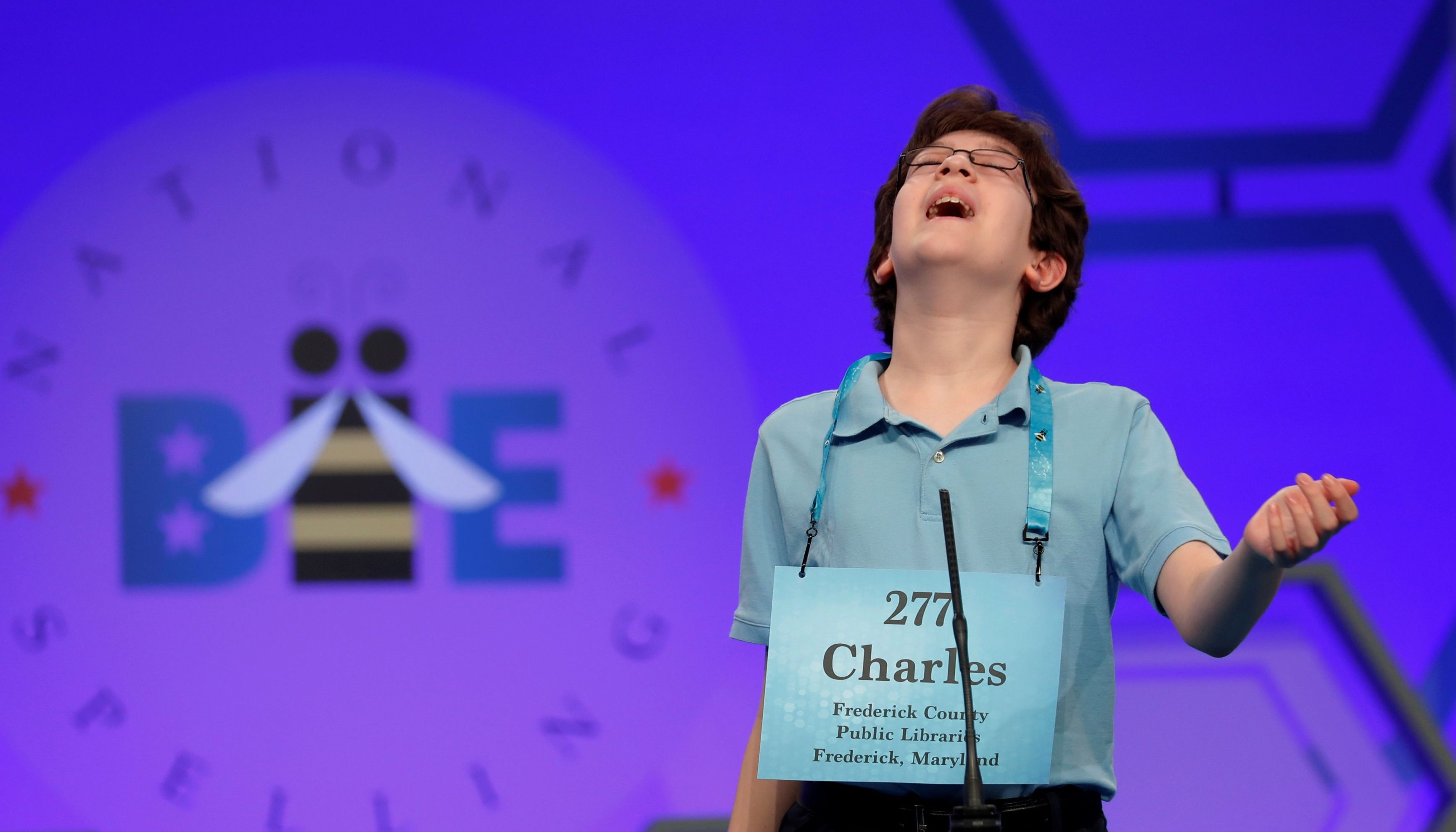 Charles Millard of Frederick, Maryland, misspells a word during the Scripps National Spelling Bee at National Harbor in Maryland, U.S. May 29, 2018.