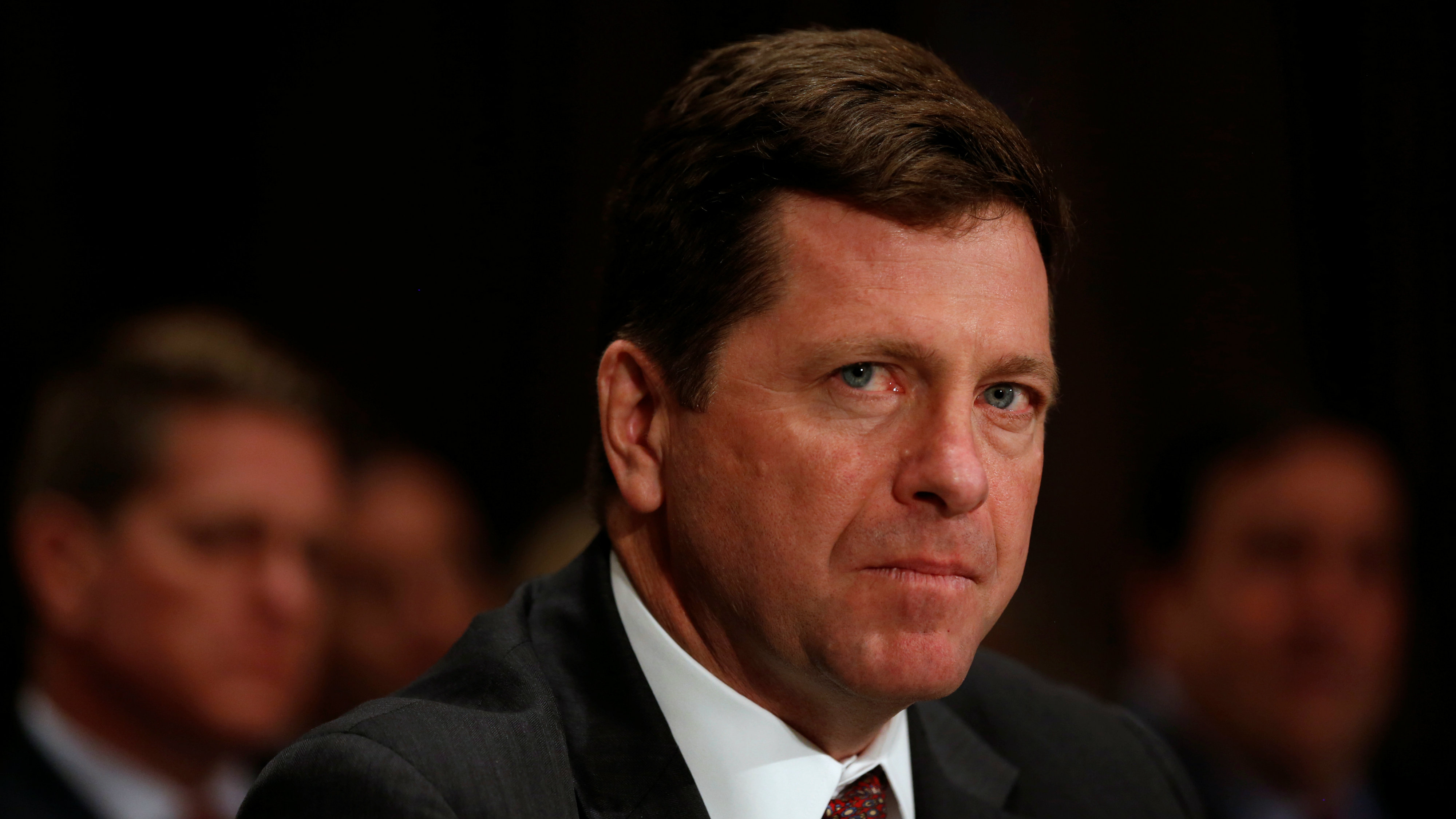 Jay Clayton testifies at a Senate Banking, Housing and Urban Affairs Committee hearing on his nomination of to be chairman of the Securities and Exchange Commission (SEC) on Capitol Hill in Washington, U.S. March 23, 2017.