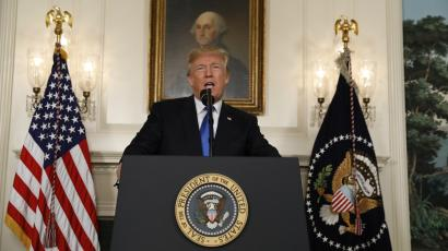 Donald Trump speaks about the Iran nuclear deal in the Diplomatic Room of the White House in October