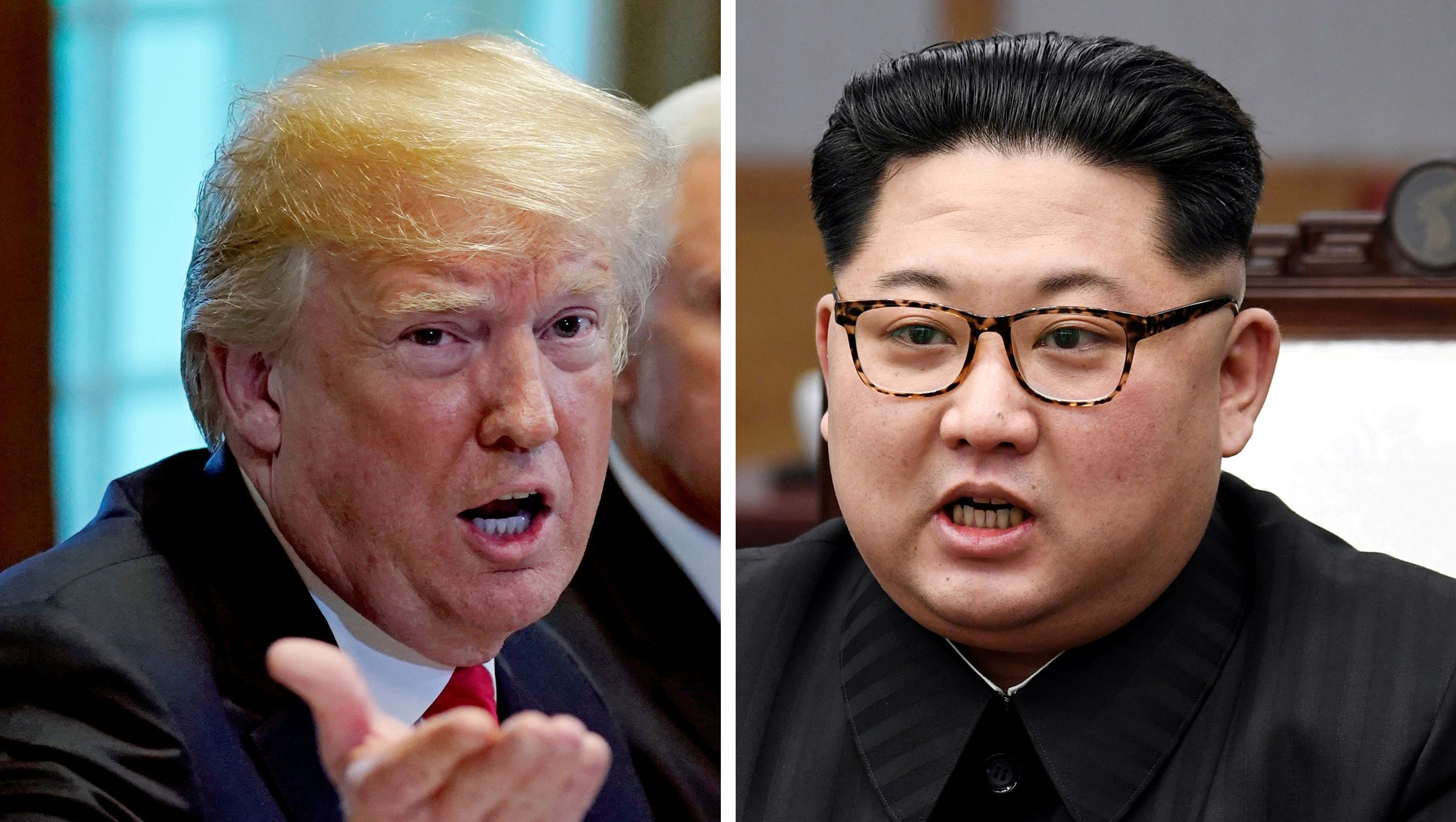 A combination photo shows U.S.  President Donald Trump and North Korean leader Kim Jong Un (R) in Washington, DC, U.S. May 17, 2018 and in Panmunjom, South Korea, April 27, 2018 respectively.
