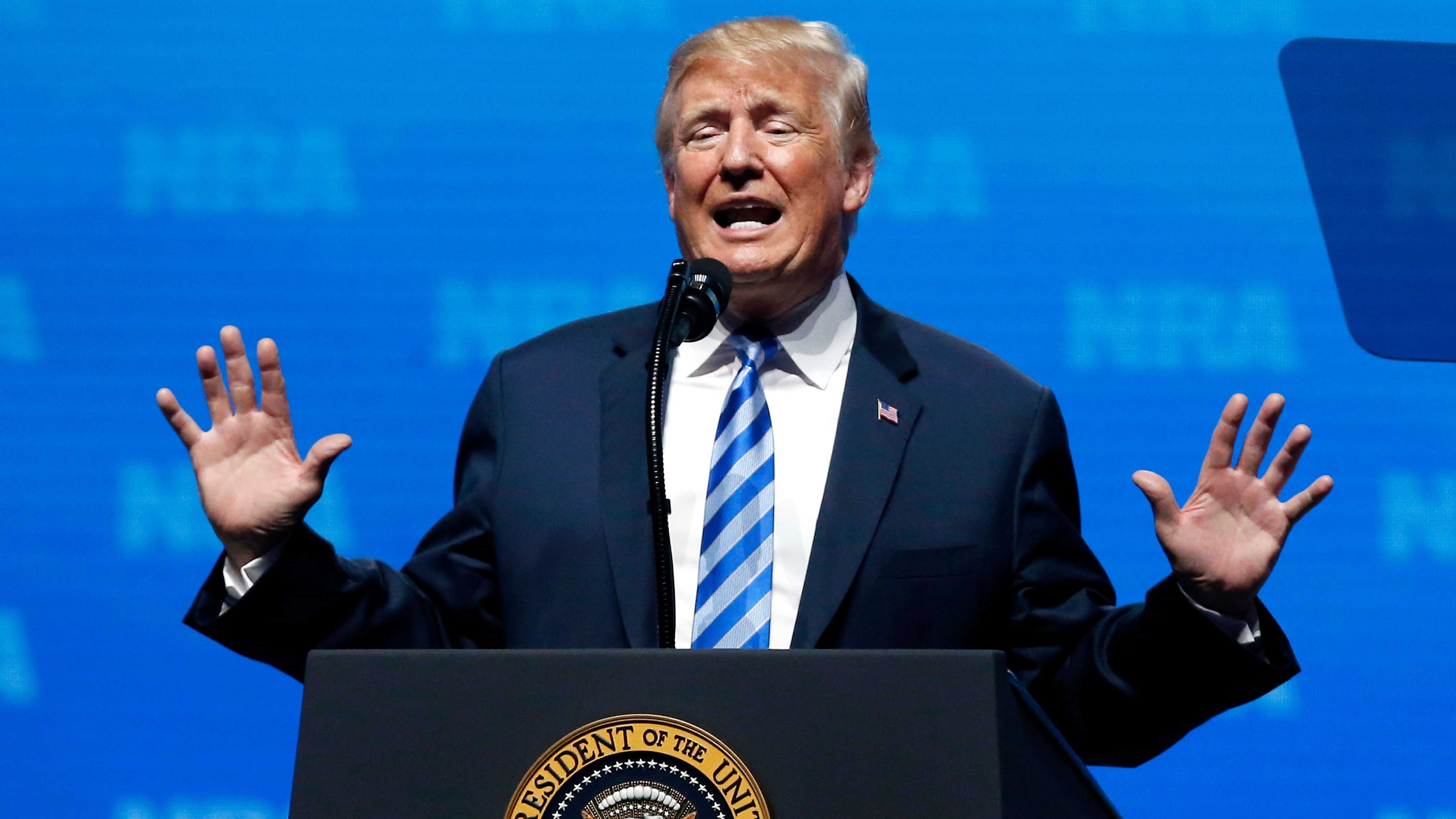 President Donald Trump speaks at the National Rifle Association annual convention in Dallas, Friday, May 4, 2018. (AP Photo/Sue Ogrocki)