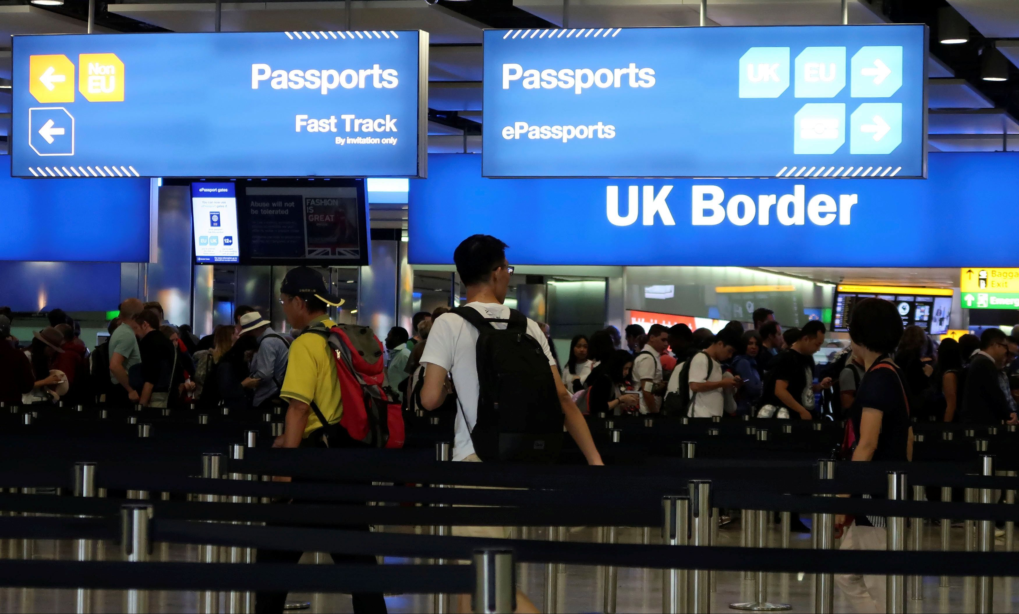UK Border control is seen in Terminal 2 at Heathrow Airport in London, Britain, July 30, 2017.