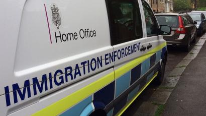 A British government Home Office van is seen parked in west London, Britain, in this photograph taken on May 11, 2016.