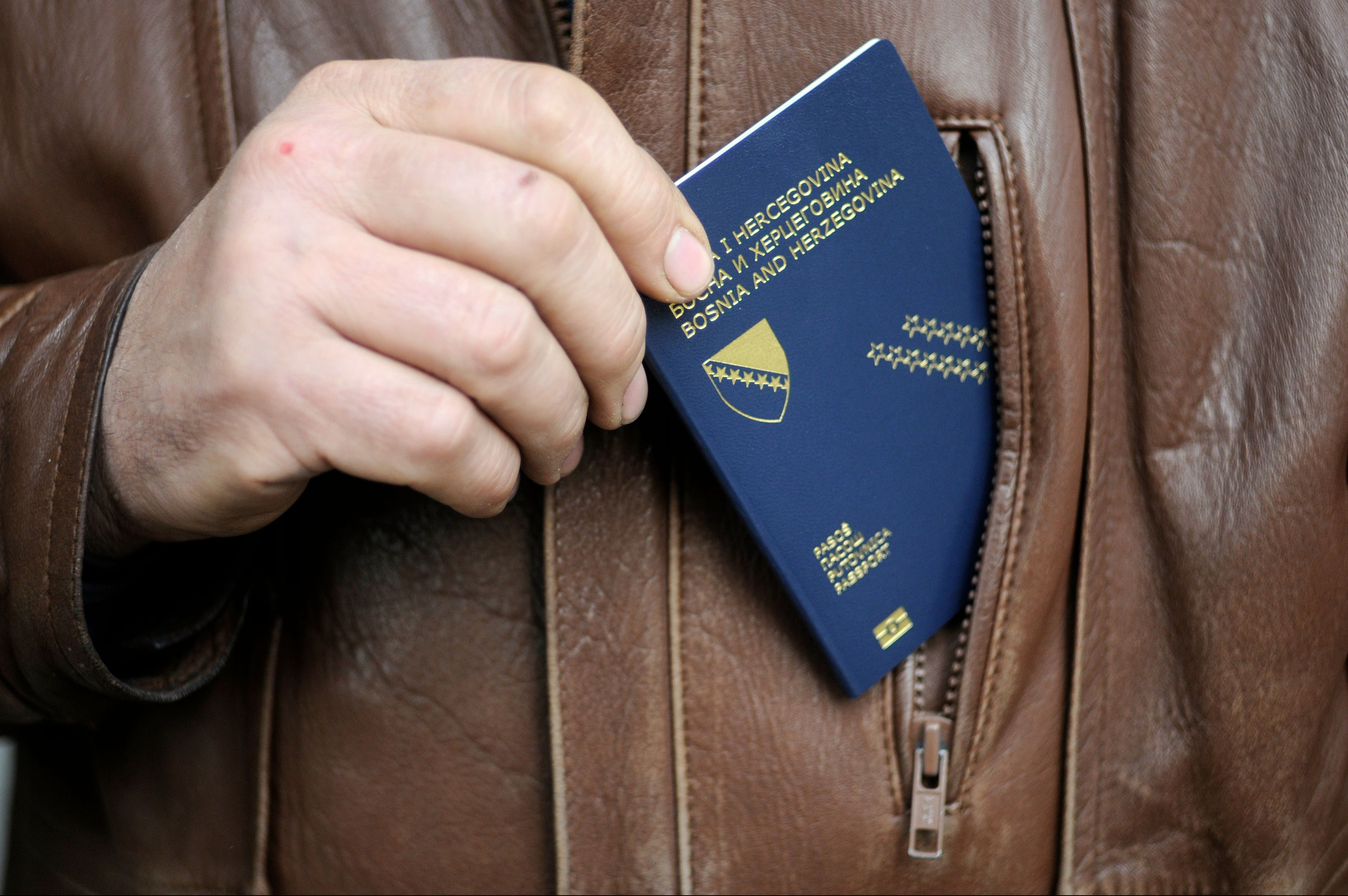 Bosnia's biometric passport outside a police station in central Bosnian town of Zenica