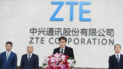 ZTE Corp's Chairman Yin Yimin speaks at a news conference at ZTE's headquarters in Shenzhen, Guangdong province, China