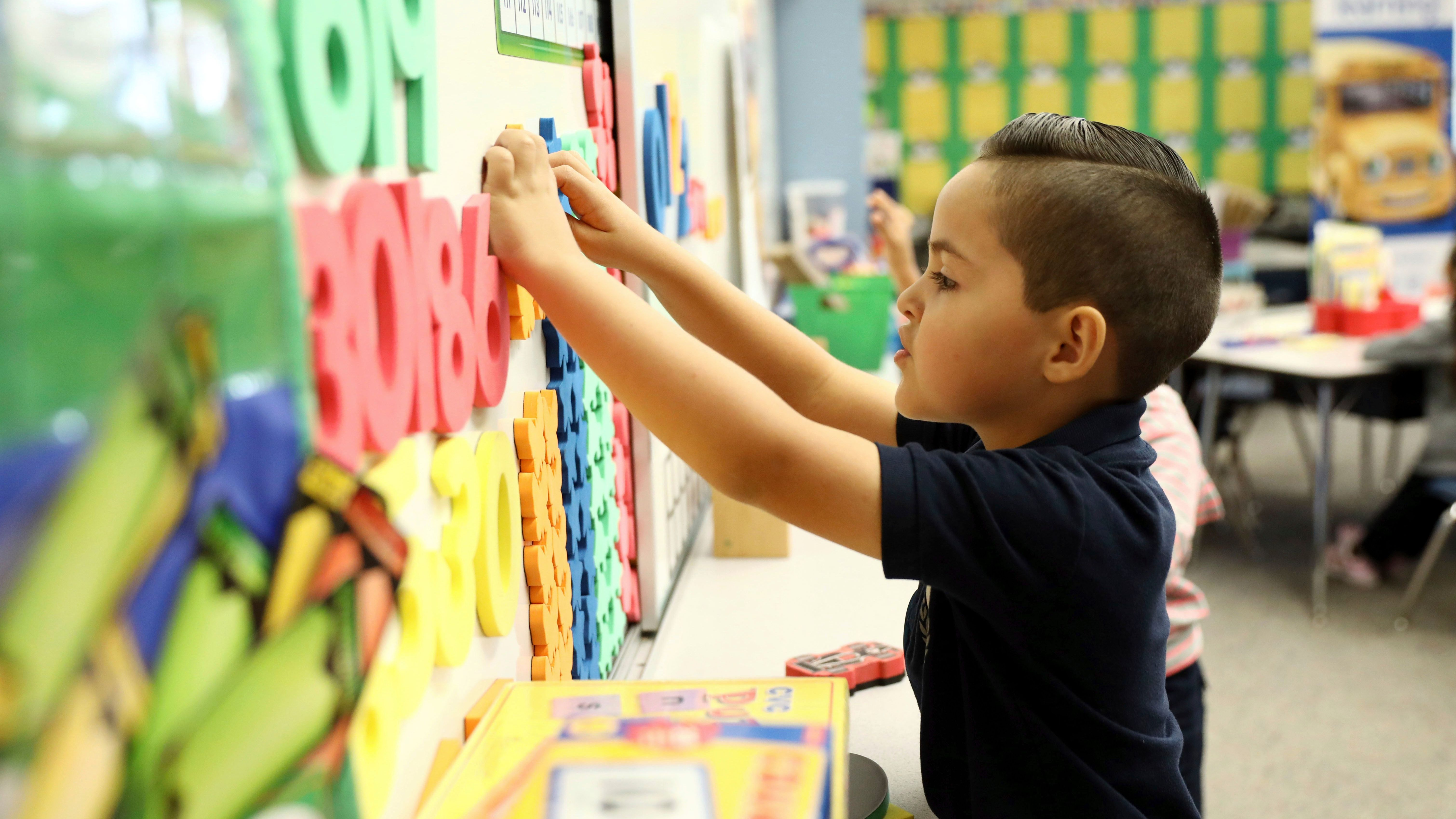 IMAGE DISTRIBUTED FOR CHEVRON - Chevron representatives visited Ms. Mathis' kindergarten classroom at Kornblum Elementary School in Hawthorne, Calif. this morning to see their newly funded math and reading materials in action, on Wednesday, Nov. 1, 2017. Classroom project funding resulted from Ms. Mathis submitting her project through Chevron's Fuel Your School Program; an annual public school support initiative conducted in partnership with DonorsChoose.org to provide necessary classroom project materials for enhanced learning. Submissions opened on September 1 and teachers have until Friday, November 3 to submit their projects. (Matt Sayles/AP Images for Chevron)