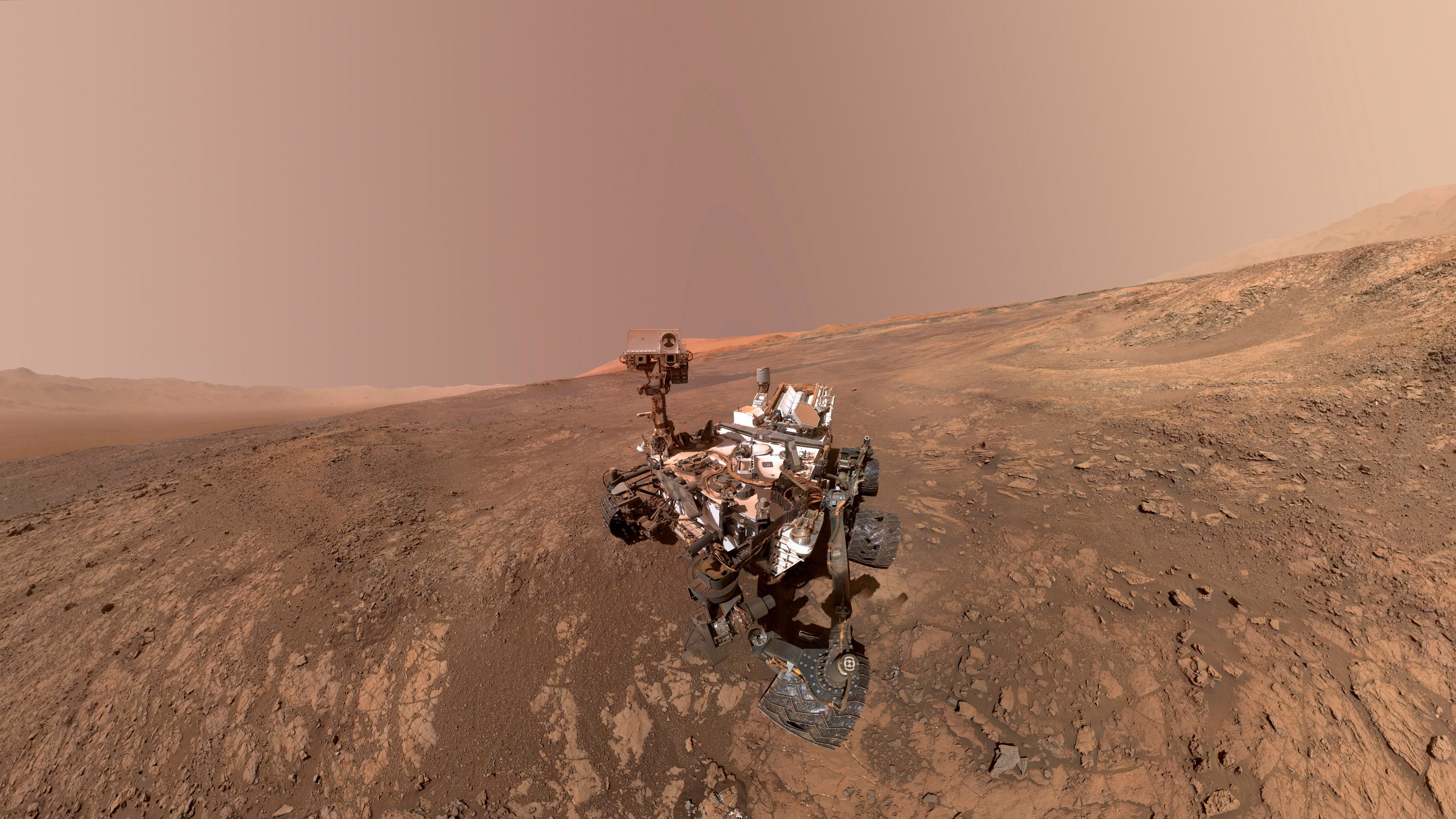 This composite image made from a series of Jan. 23, 2018 photos shows a self-portrait of NASA's Curiosity Mars rover on Vera Rubin Ridge. The rover's arm which held the camera was positioned out of each of the dozens of shots which make up the mosaic.