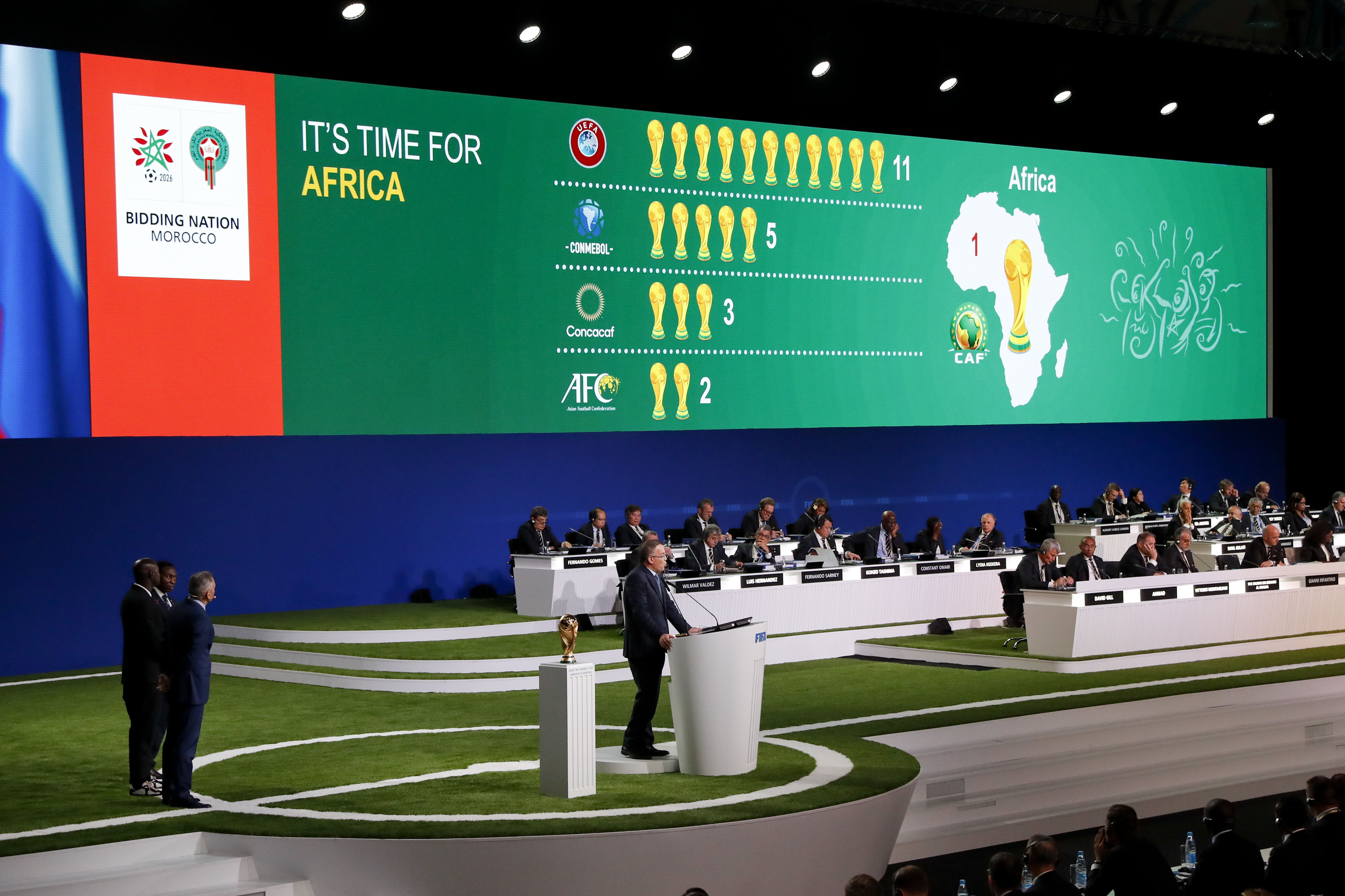 Fouzi Lekjaa, president of Morocco's Royal Football Federation presents his country's bid to host the 2026 World Cup at the FIFA congress in Moscow, Russia, Wednesday, June 13, 2018.