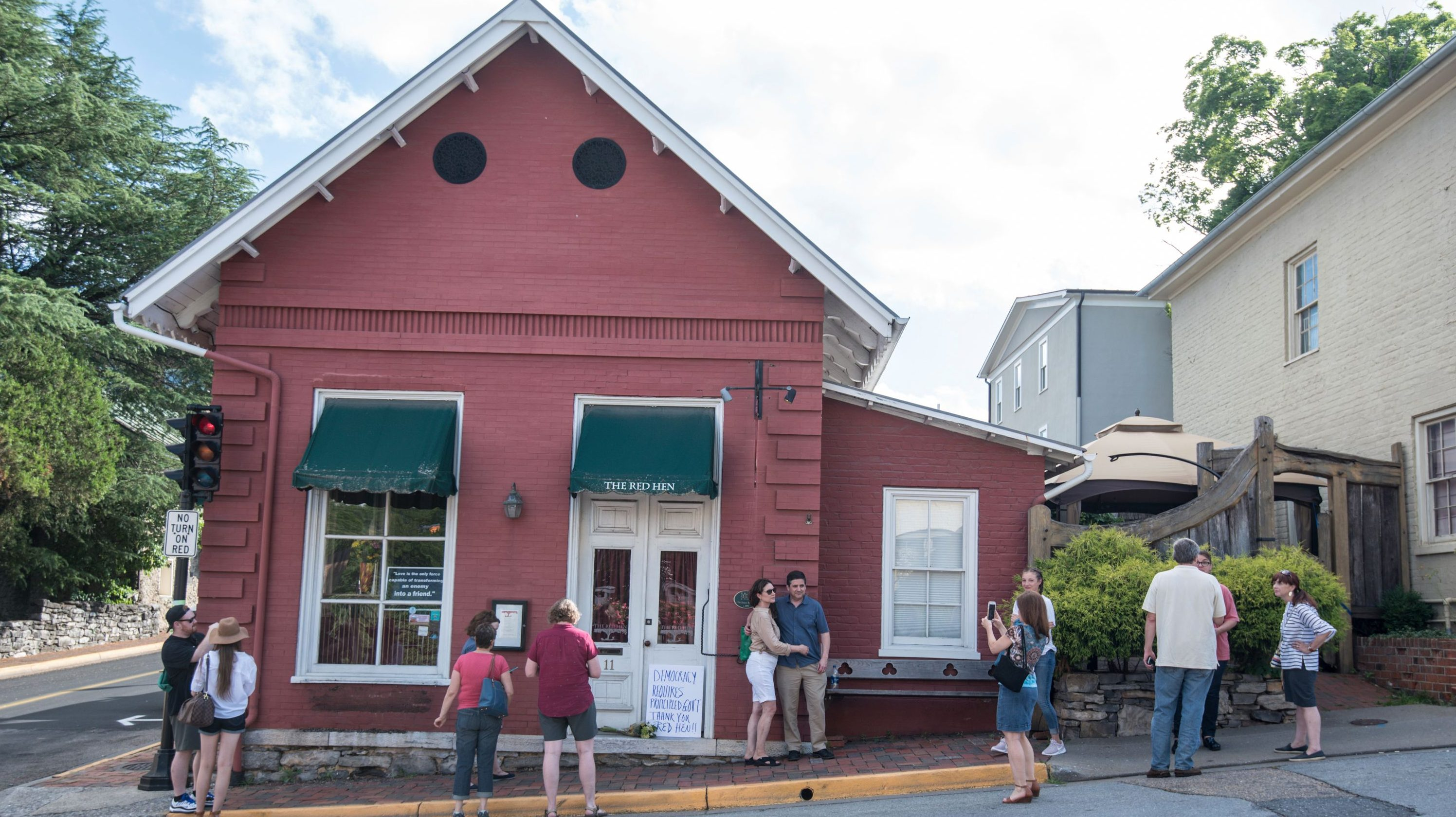 "in Lexington, Va. White House press secretary Sarah Huckabee Sanders said Saturday in a tweet that she was booted from the Virginia restaurant because she works for President Donald Trump. Sanders said she was told by the owner of The Red Hen that she had to ""leave because I work for @POTUS and I politely left."" (AP Photo/Daniel Lin)"