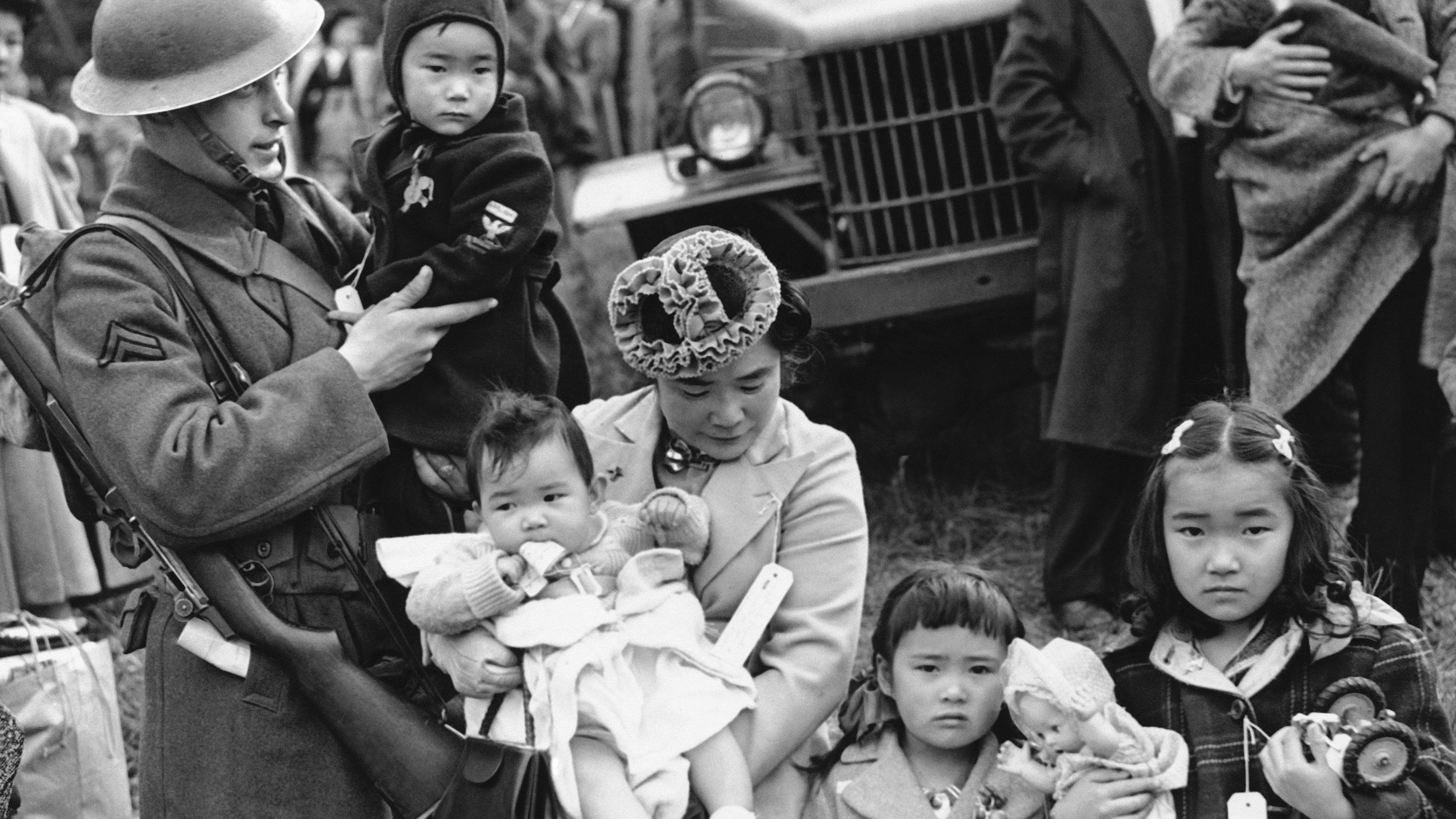 Mrs. Shigeho Kitamoto had no time for tears when she was evacuated along with other Japanese from Bainbridge Island in Washington State, March 30, 1942.