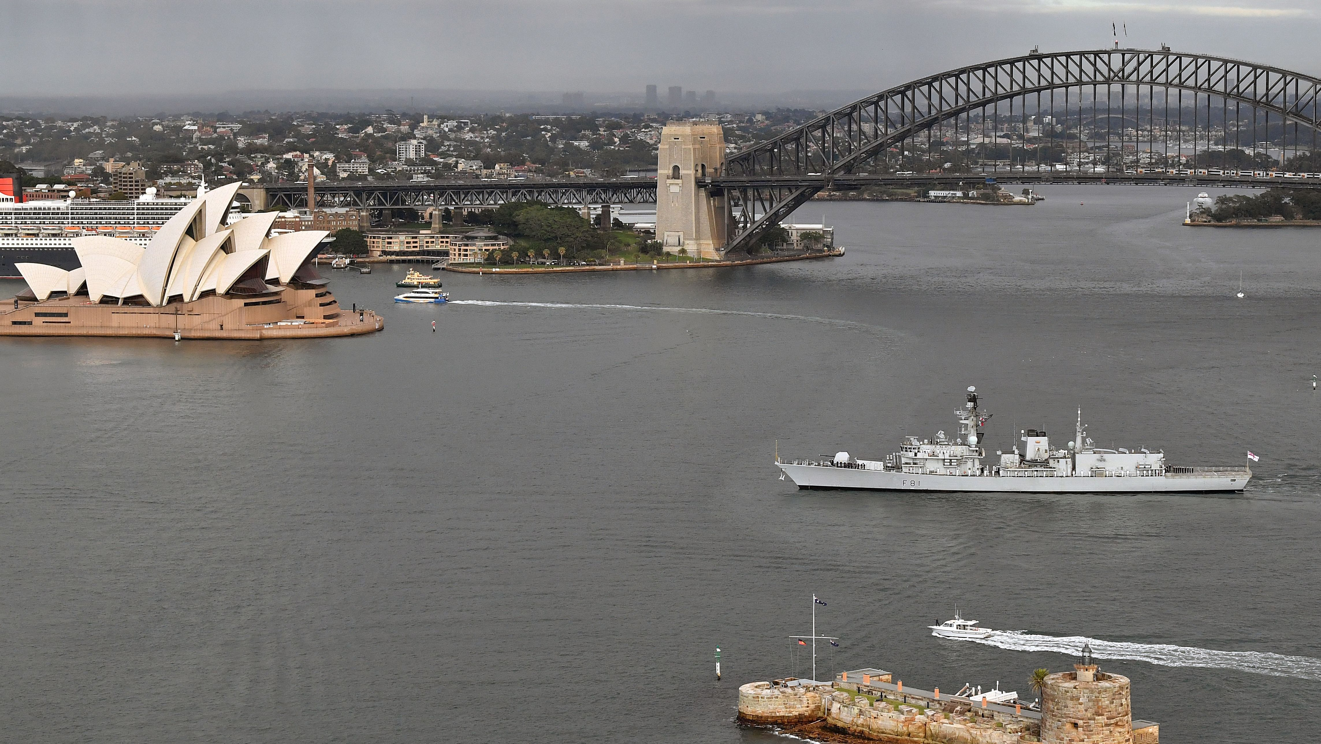 An aerial view of the British Royal Navy Type 23 frigate HMS Sutherland arriving in Sydney, Australia, 09 March 2018. The HMS Sutherland arrived in Sydney after participating in a five-day training exercise with the Royal Australian Navy.