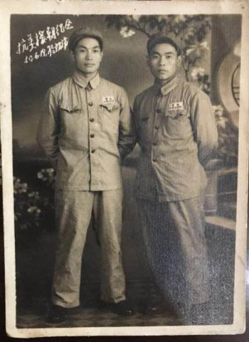 Luo Dandong (L) and his comrade in a photo taken on June 19, 1954, in North Korea.