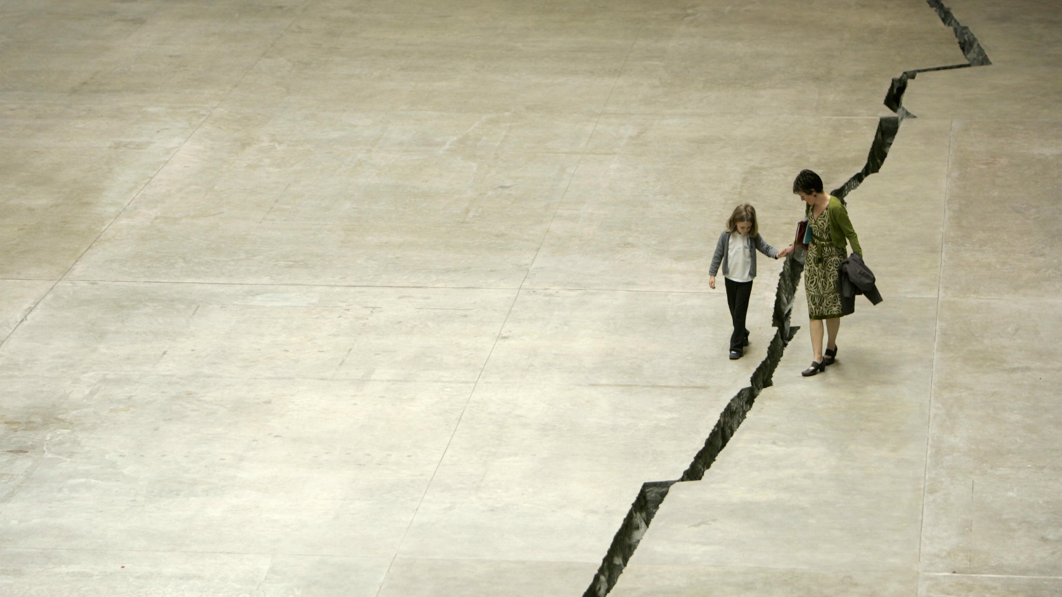 A cracked floor.