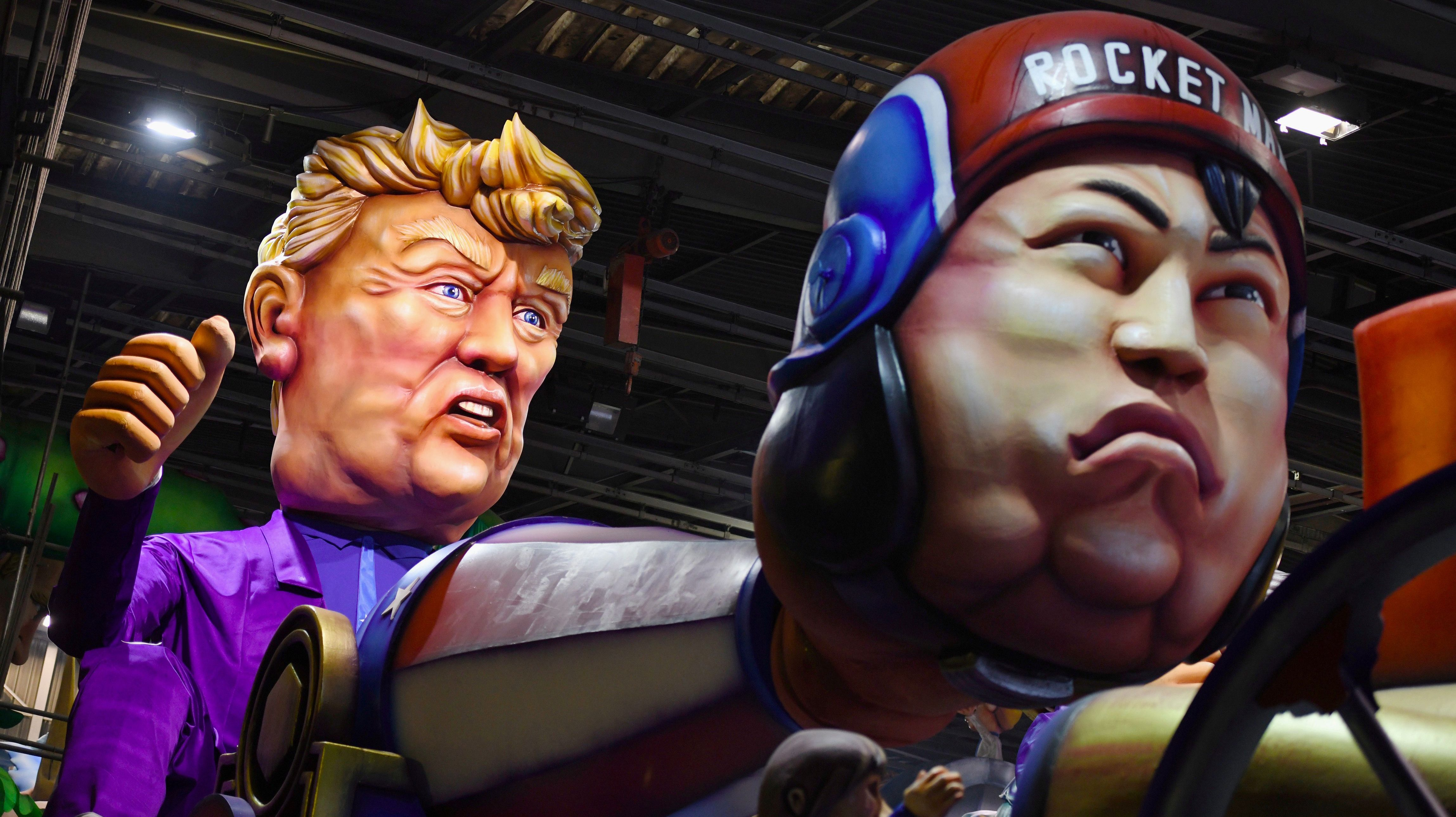 A float with giant figures of North Korean leader Kim Jong Un and U.S President Donald Trump is seen during preparations for the carnival parade in Nice, France February 17, 2018.