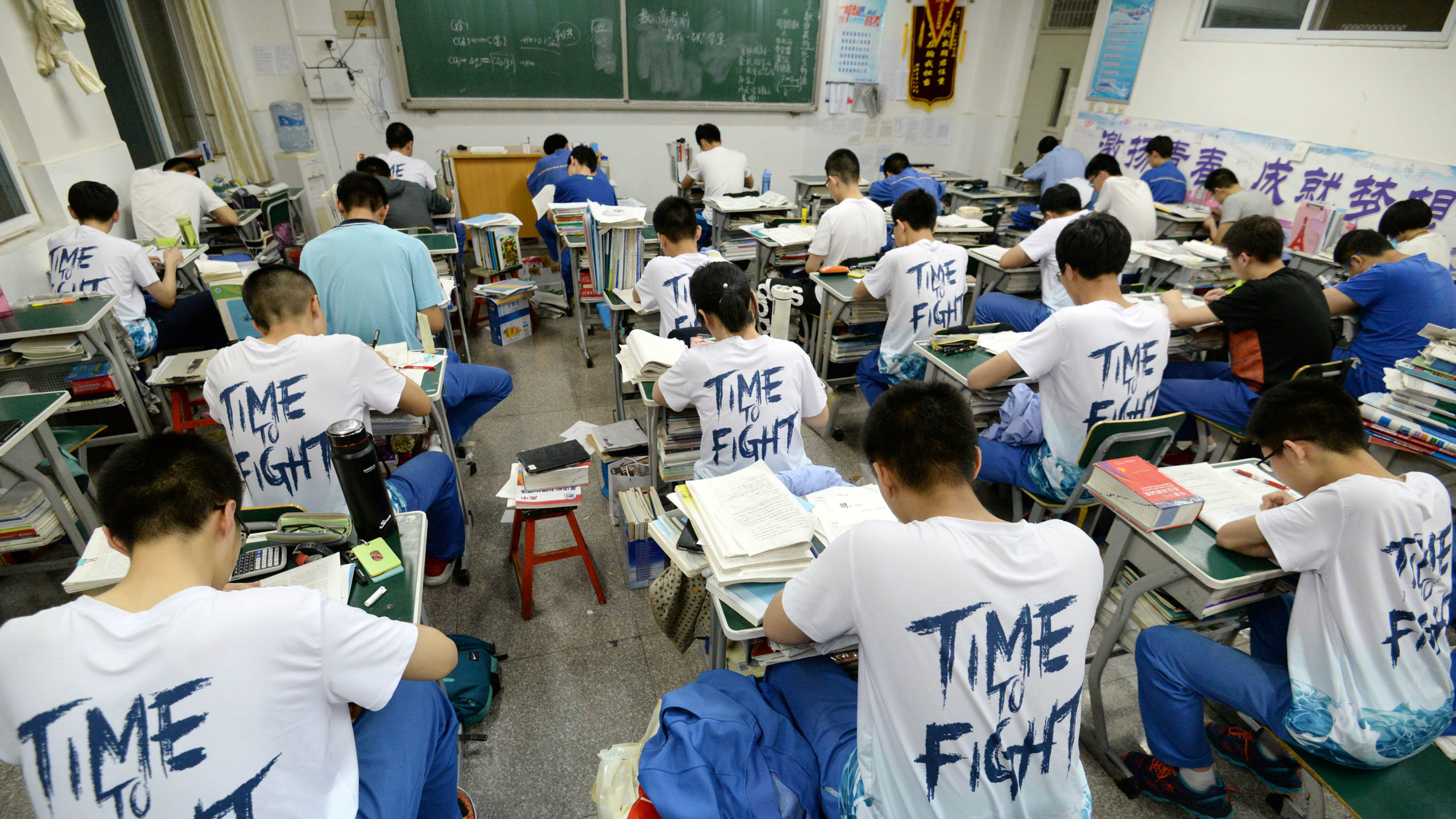 "Students study in the evening ahead of the annual national college entrance examination, or ""gaokao"", at a high school in Handan, Hebei province, China May 23, 2018."