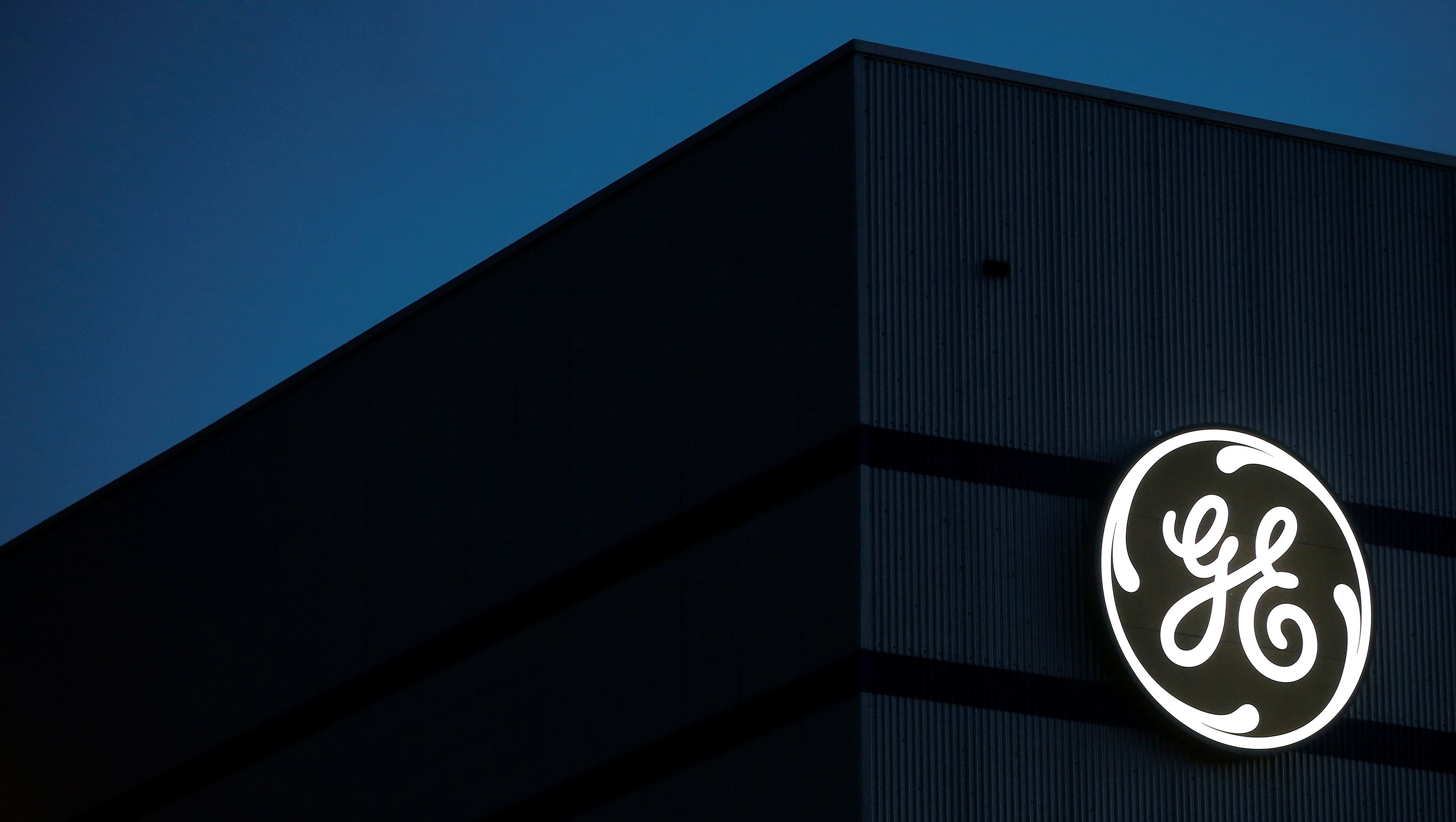 The General Electric logo is pictured on the General Electric offshore wind turbine plant in Montoir-de-Bretagne, near Saint-Nazaire, western France, November 21, 2016.