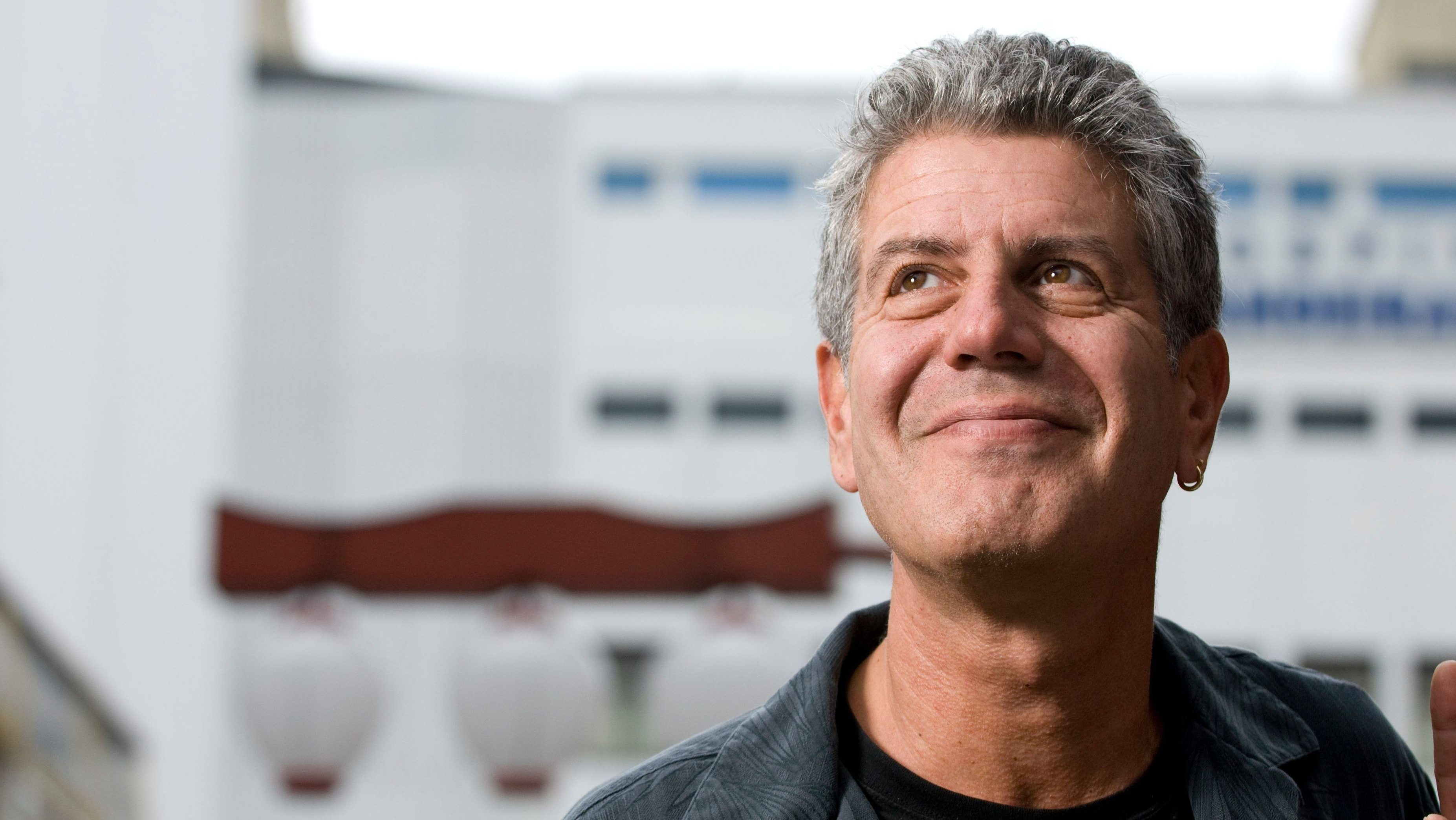 """American Chef Anthony Bourdain in the Liberdade area of Sao Paulo, Brazil. Bourdain hosts the TV Show """"No Reservations"""" for the Travel Channel in the US and is the Chef-at-Large for Brasserie Les Halles in New York City. (Photo by Paulo Fridman/Corbis via Getty Images)"""