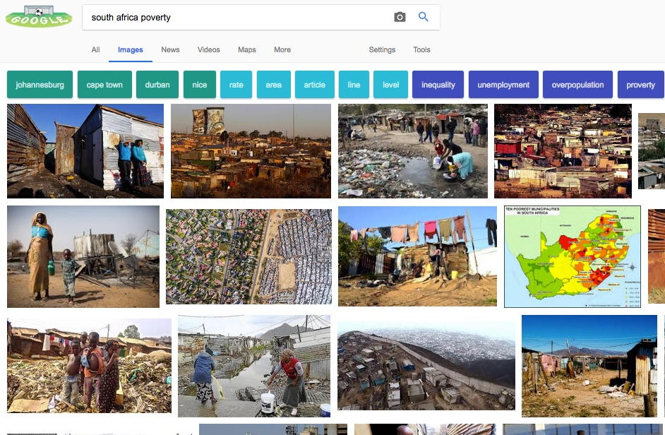 Why googling squatter camps in South Africa returns pictures of white people