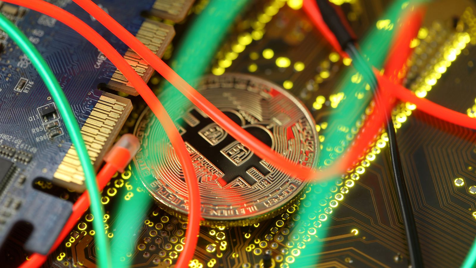 Representation of the Bitcoin virtual currency standing on the PC motherboard is seen in this illustration picture, February 3, 2018.