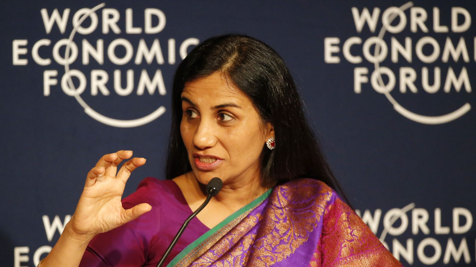 """Chanda Kochhar, Managing Director and Chief Executive Officer of ICICI Bank, speaks during a debate hosted by the Associated Press """"Regions in Transformation: South Asia"""" at the World Economic Forum in Davos, Switzerland, Thursday, Jan. 21, 2016. The debate focused on the future of South Asia and the global trends and national priorities that are affecting its transformation."""