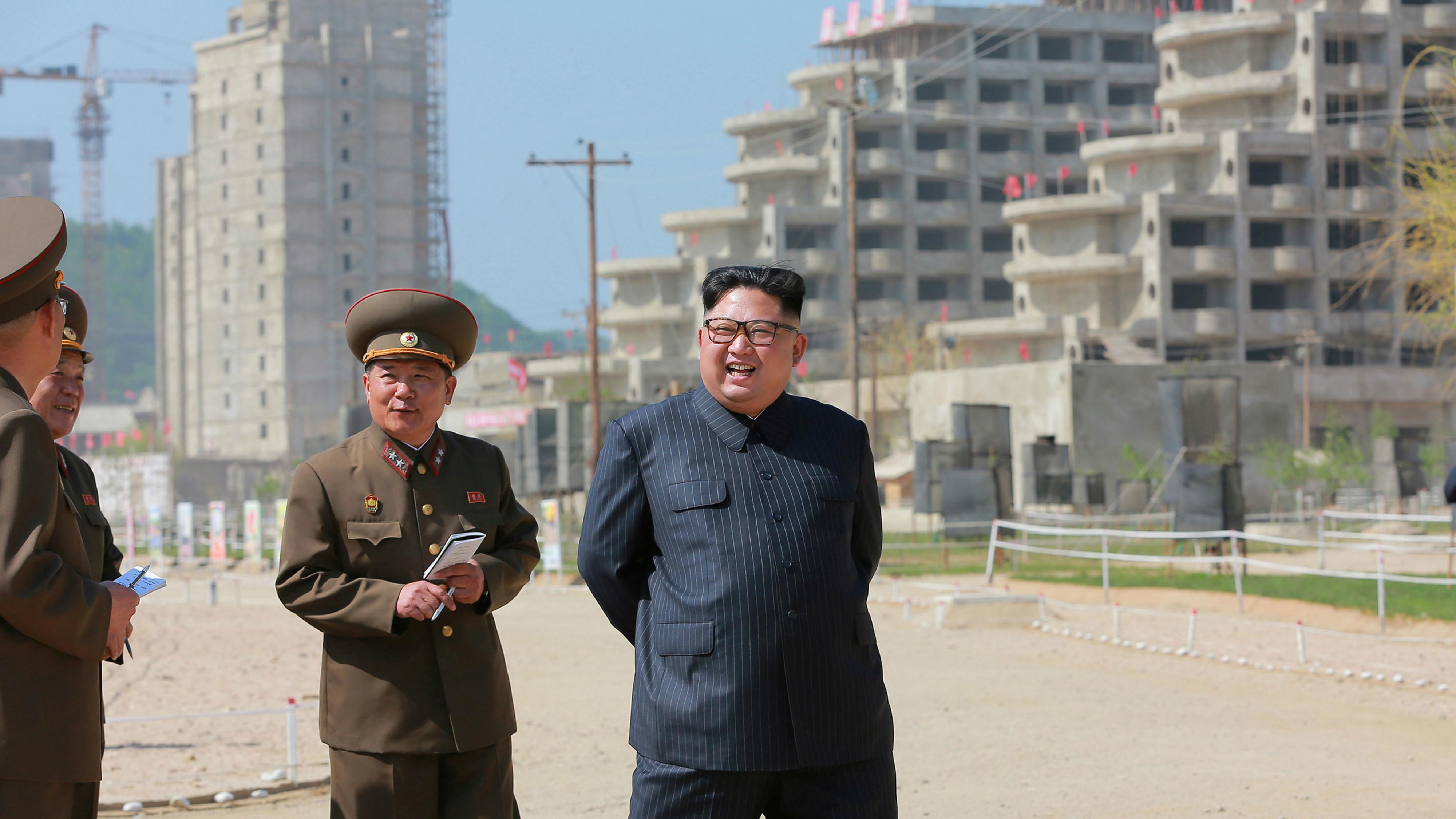 "North Korean leader Kim Jong Un inspects the construction of the ""Wonsan-Kalma shore Tourist Zone."""