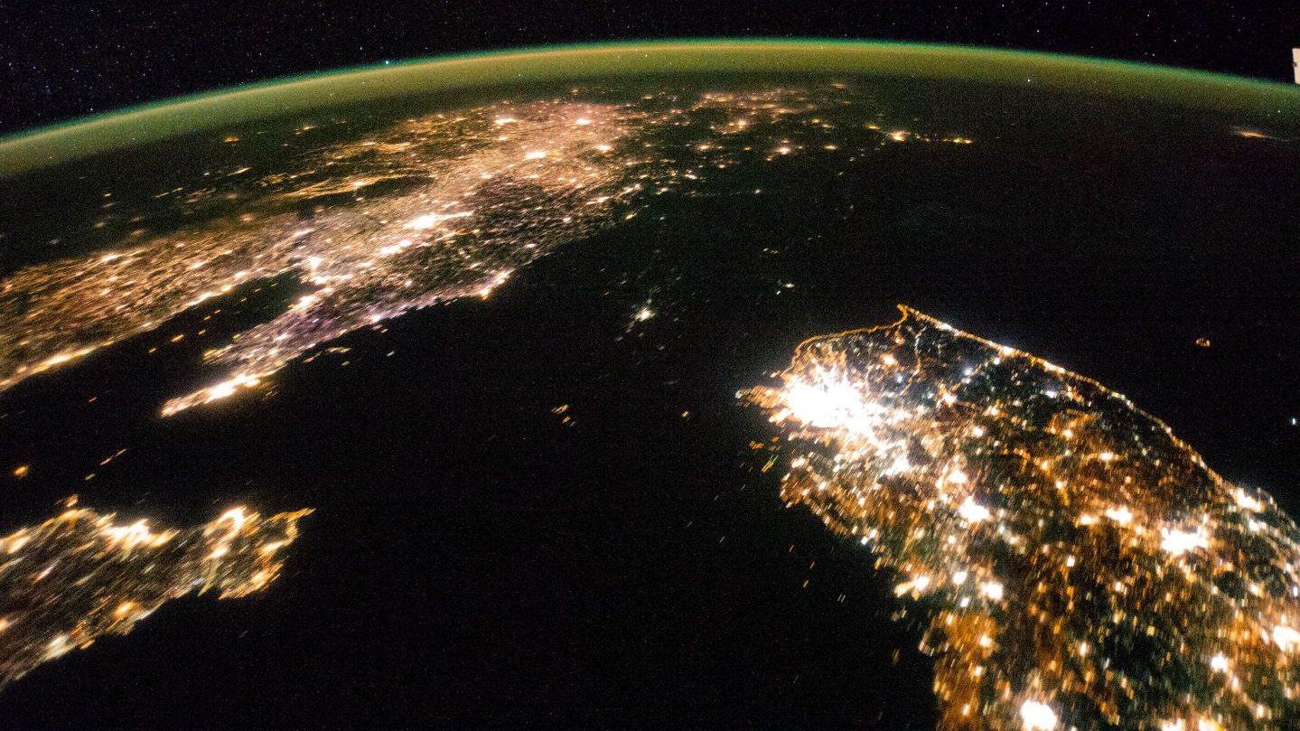 A satellite photo of the Korean peninsula.
