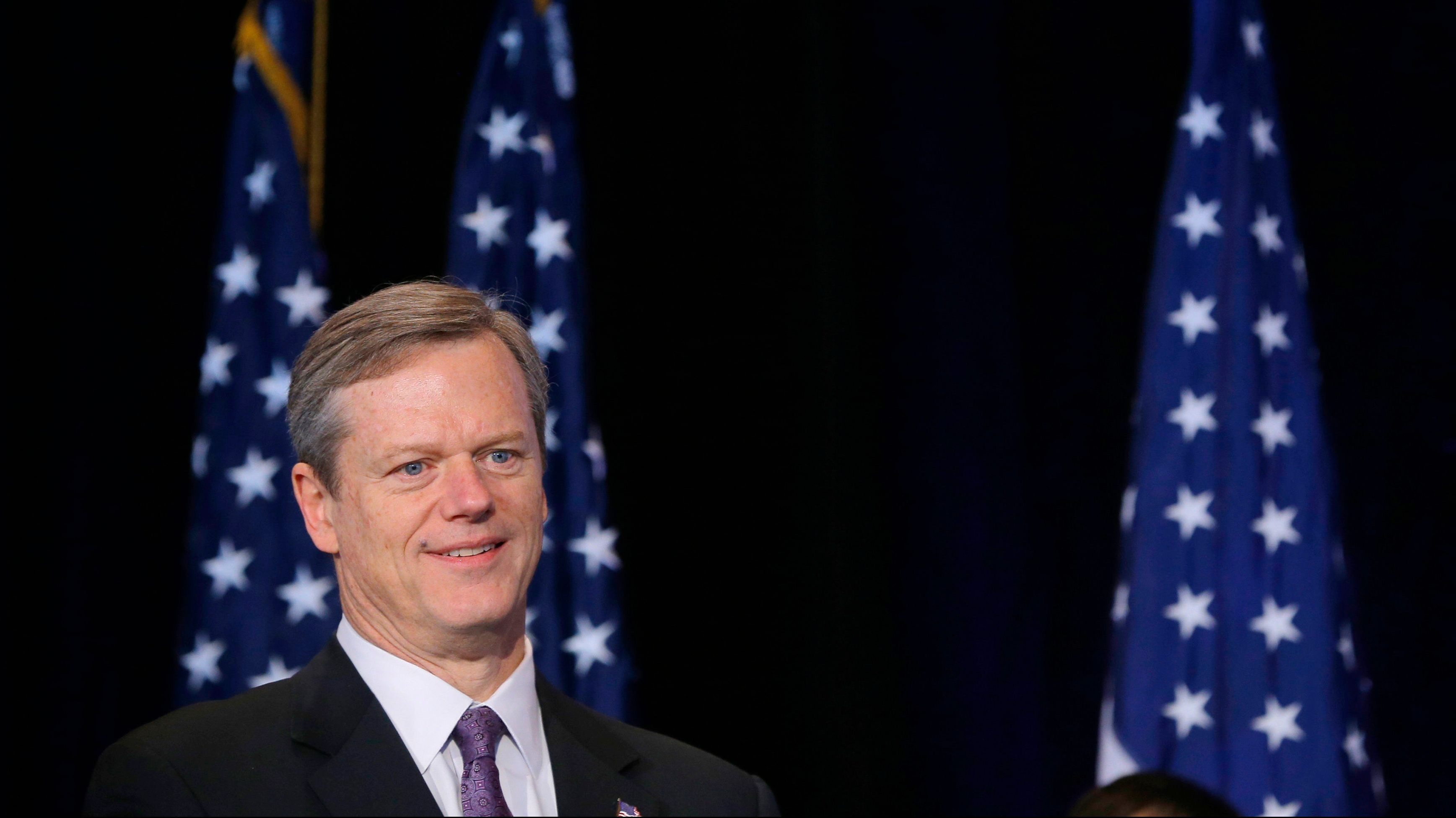 Massachusetts Governor Charlie Baker waits to speak at a news conference in Boston, Massachusetts, on January 9, 2015.