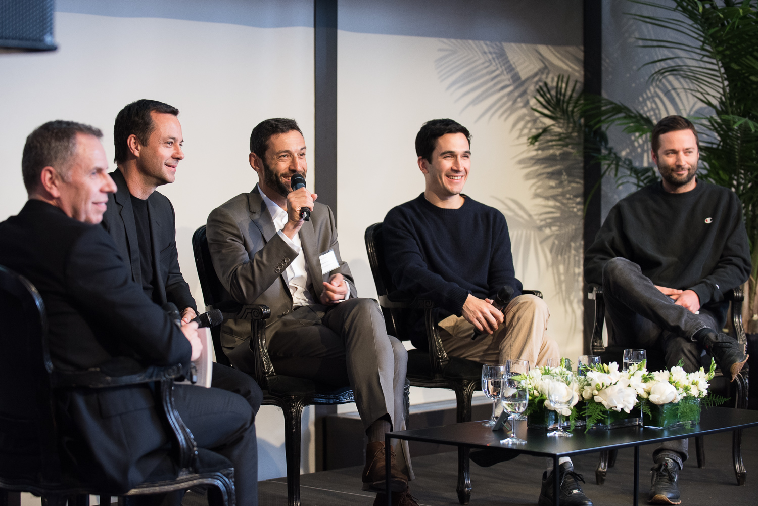 Debating the meaning of luxury. From left to right: Miles Socha, editor-in-chief of WWD; Laurent Claquin, head of Kering Americas; Alain Bernard, CEO of Van Cleef & Arpels Americas; and Lazaro Hernandez and Jack McCollough, cofounders of Proenza Schouler.