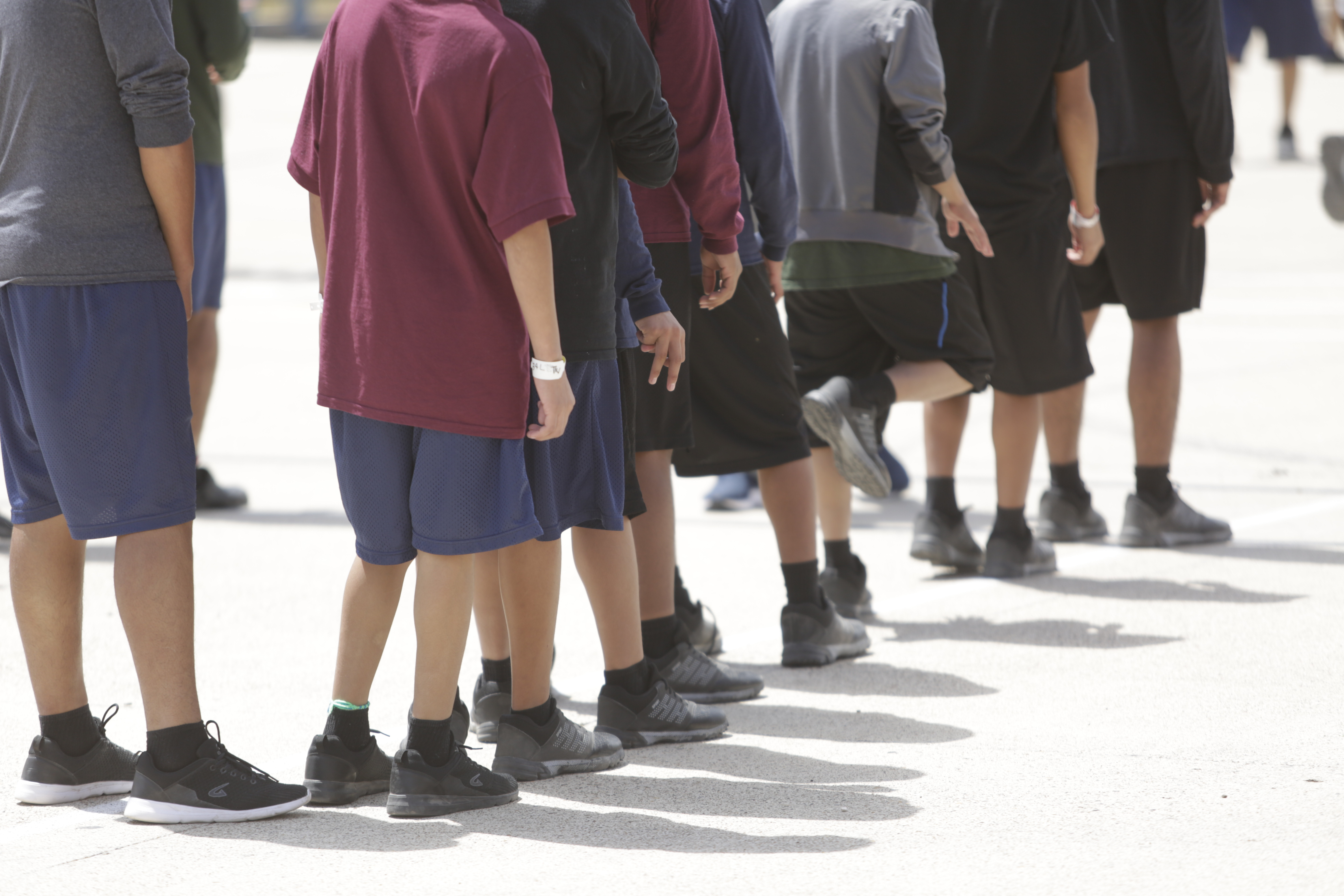 Boys in line at the Casa Padre facility for child immigrants in Texas.