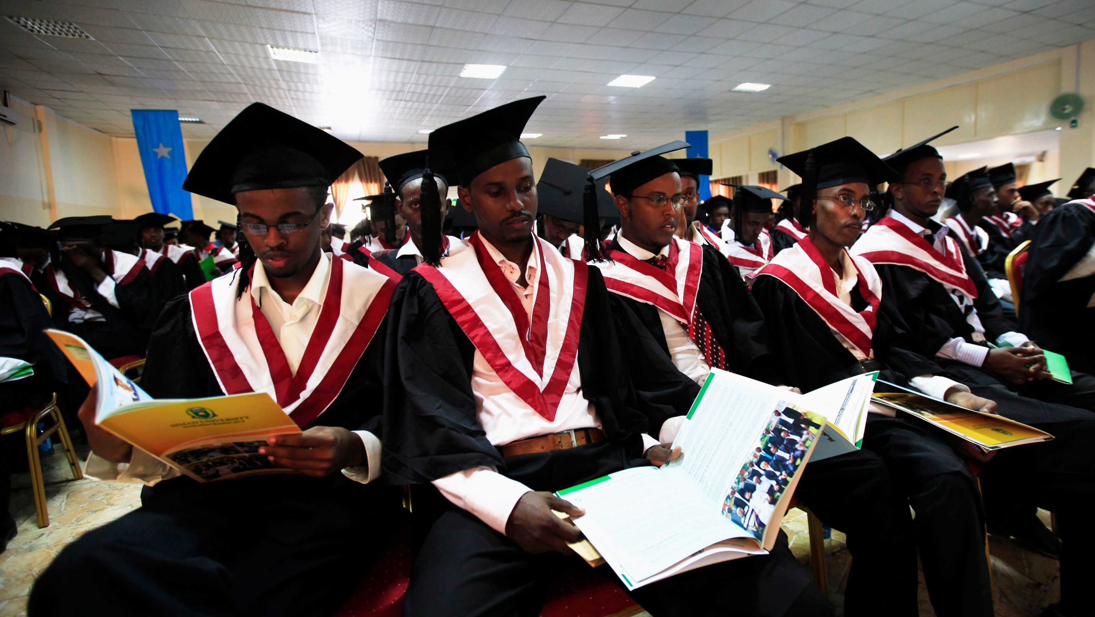 Students of SIMAD University attend their graduation ceremony, along with over 600 other students, in Mogadishu