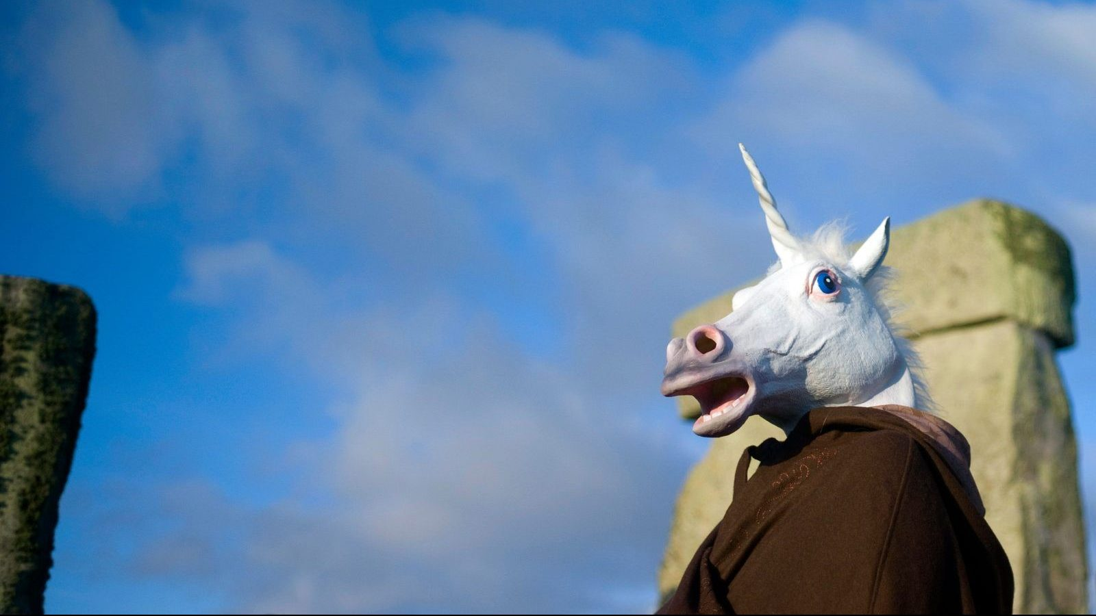 A reveller dressed as a unicorn celebrates the sunrise during the winter solstice at Stonehenge on Salisbury plain in southern England December 21, 2012. The winter solstice is the shortest day of the year, and the longest night of the year. REUTERS/Kieran Doherty  (BRITAIN - Tags: SOCIETY ENVIRONMENT TRAVEL) - GM1E8CL1Q1601
