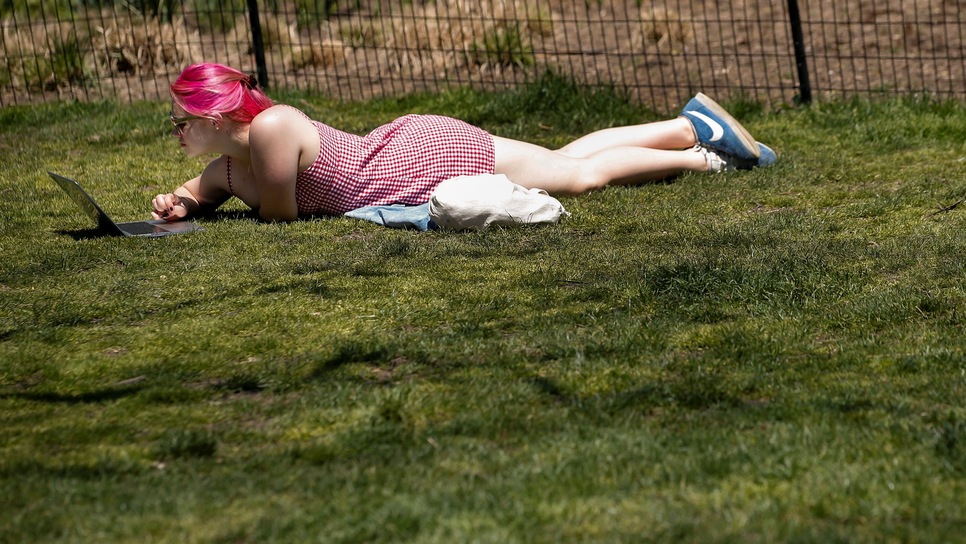 A woman works on her computer while laying in the grass on one of the first warm days of spring in Washington Square Park in New York City, U.S., May 1, 2018. REUTERS/Brendan McDermid - RC1D8B5CE5F0