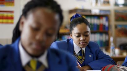 School children attend class at Waterstone College in the south of Johannesburg
