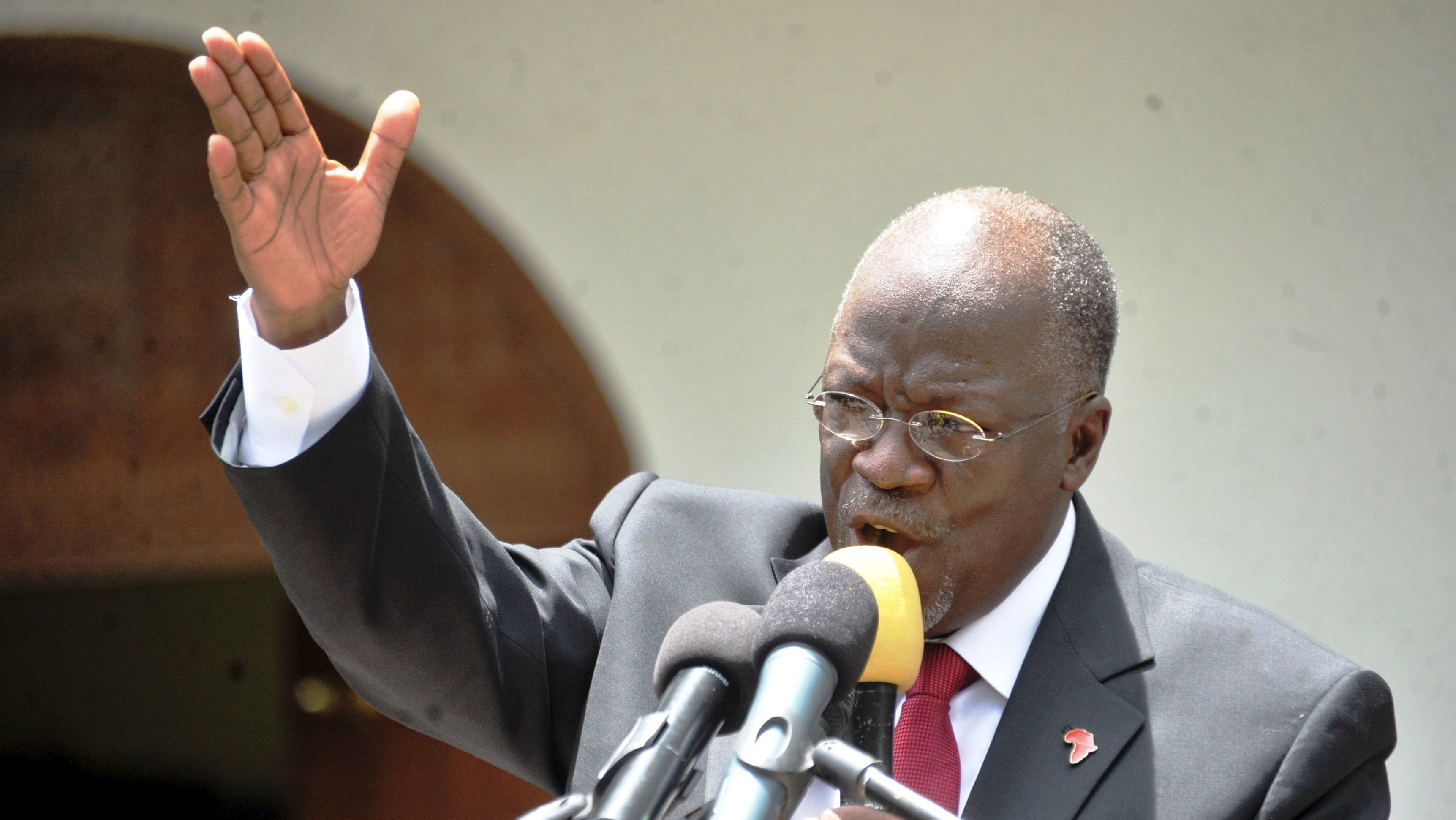 Tanzania's President elect John Pombe Magufuli addresses members of the ruling Chama Cha Mapinduzi Party (CCM) at the party's sub-head office on Lumumba road in Dar es Salaam, October 30, 2015. Tanzania's ruling party candidate, John Magufuli, was declared winner on Thursday of a presidential election, after the national electoral body dismissed opposition complaints about the process and a demand for a recount. The election has been the most hotly contested race in the more than half a century of rule by the Chama Cha Mapinduzi Party, which fielded Magufuli, 56, a minister for public works.