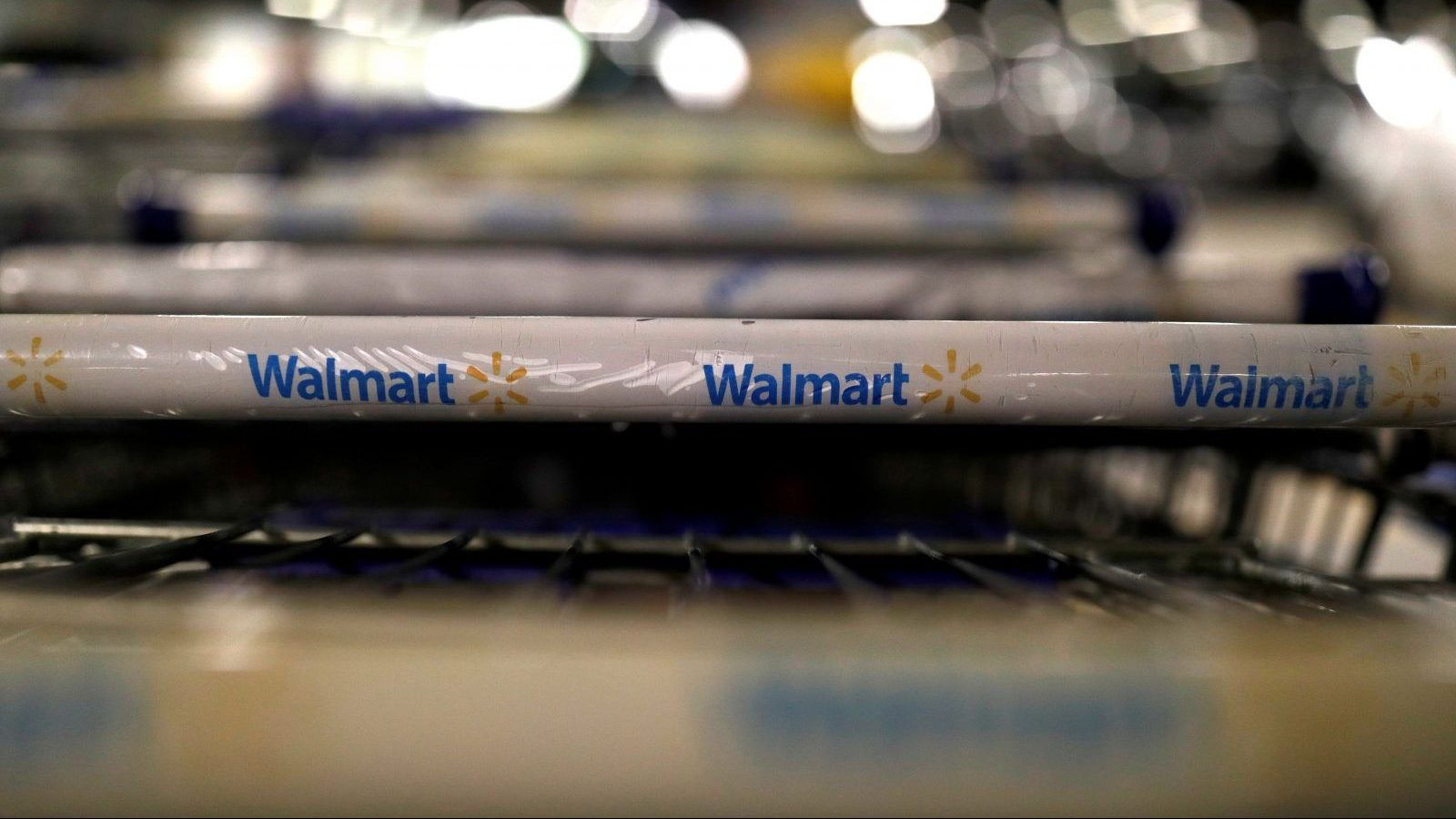 FILE PHOTO: The logo of Walmart is seen on shopping trolleys at their store in Sao Paulo, Brazil February 14, 2018. REUTERS/Paulo Whitaker/File Photo - RC1E9B0A6470