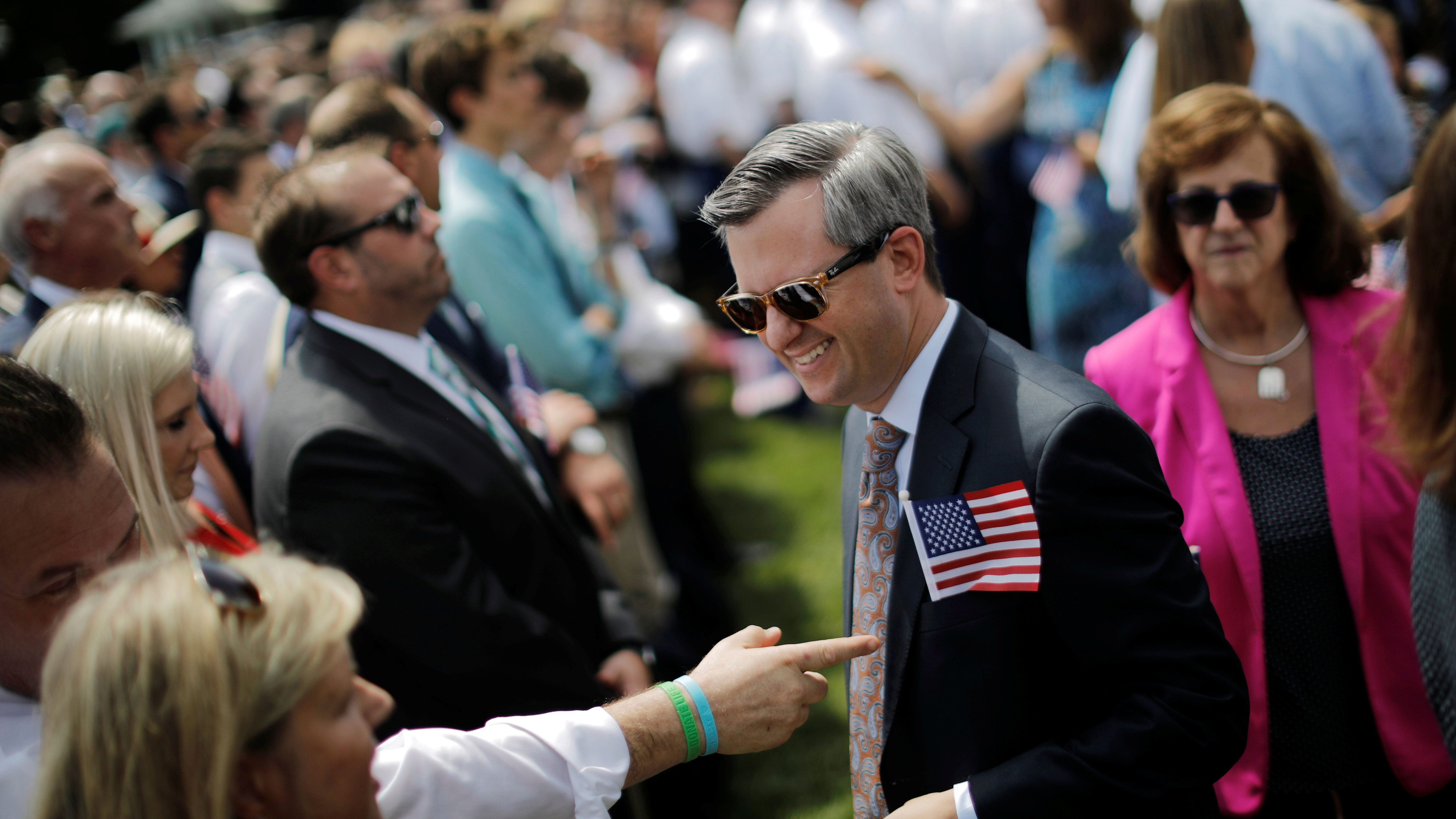 """Guest arrive for a """"celebration of America"""" event on the South Lawn of the White House in Washington, U.S., June 5, 2018. The event was arranged after Trump canceled the planned visit of the Super Bowl champion Philadelphia Eagles to the White House. REUTERS/Carlos Barria - RC12BA905F80"""