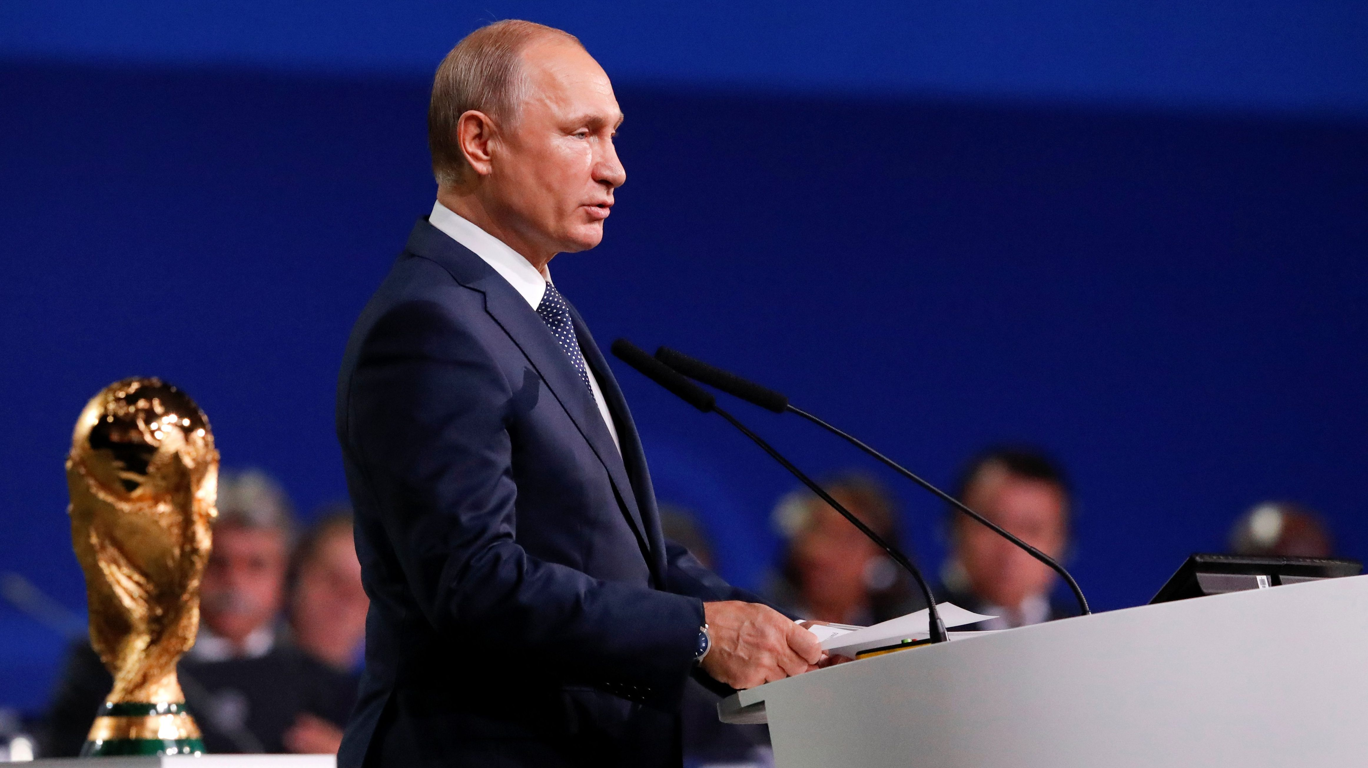 Russian President Vladimir Putin delivers a speech during the 68th FIFA Congress in Moscow, Russia June 13, 2018.