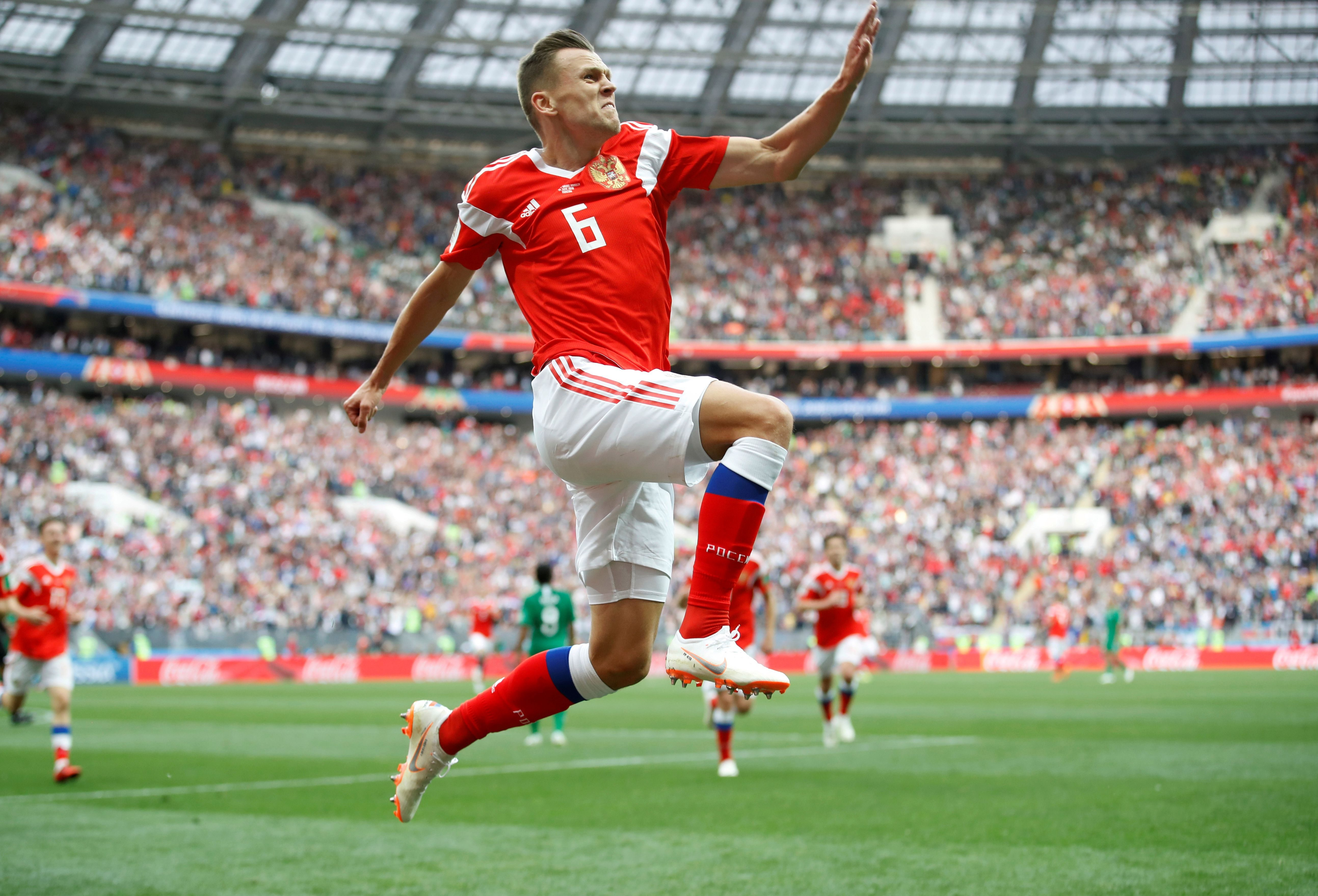 Soccer Football - World Cup - Group A - Russia vs Saudi Arabia - Luzhniki Stadium, Moscow, Russia - June 14, 2018   Russia's Denis Cheryshev celebrates scoring their second goal      REUTERS/Carl Recine     TPX IMAGES OF THE DAY - RC12B7E41520