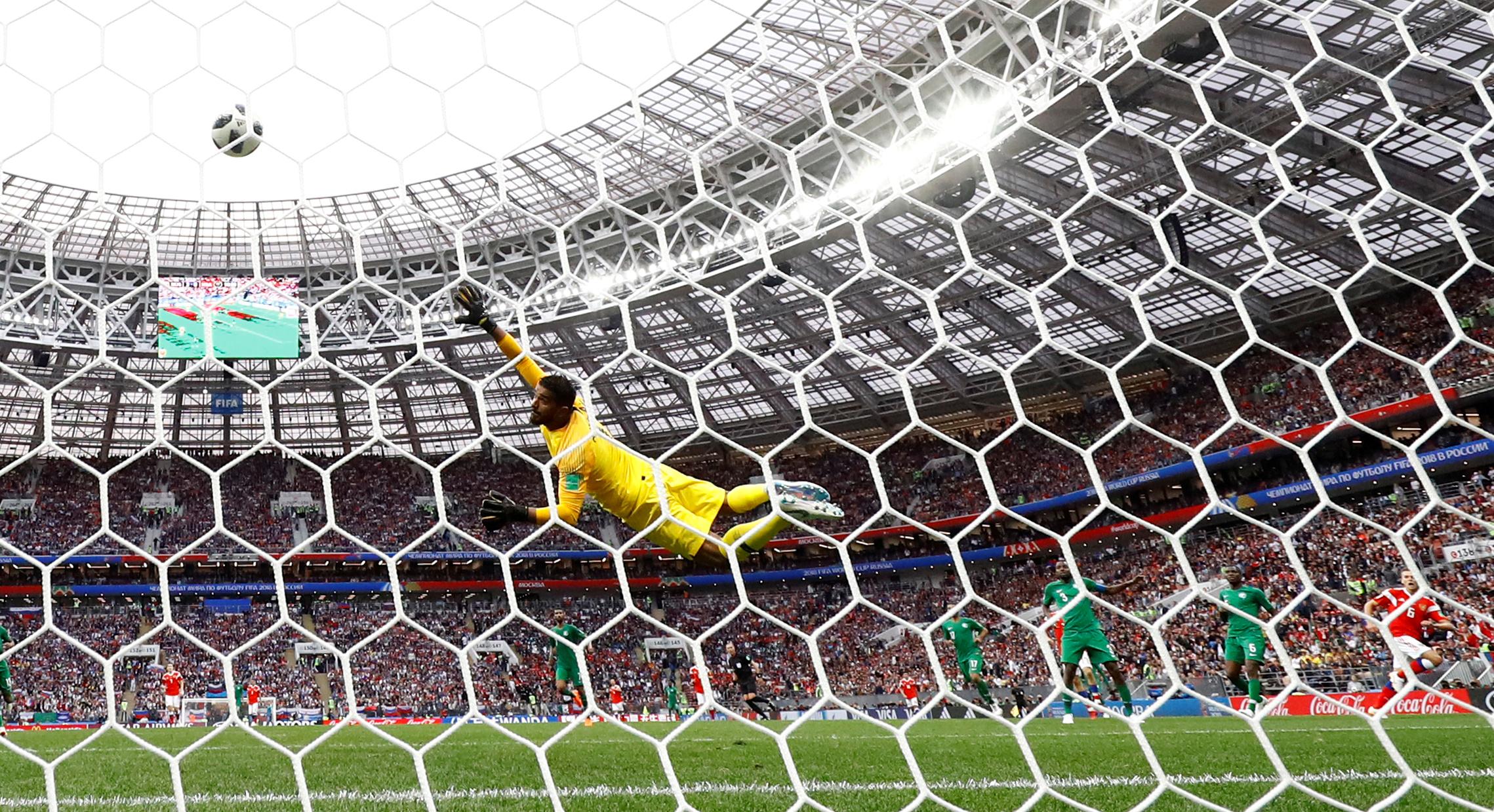 Soccer Football - World Cup - Group A - Russia vs Saudi Arabia - Luzhniki Stadium, Moscow, Russia - June 14, 2018  Russia's Denis Cheryshev scores their fourth goal