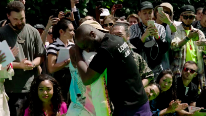 5b9ee4e56edb The highlight of Virgil Abloh s debut for Louis Vuitton was his emotional  hug with Kanye West