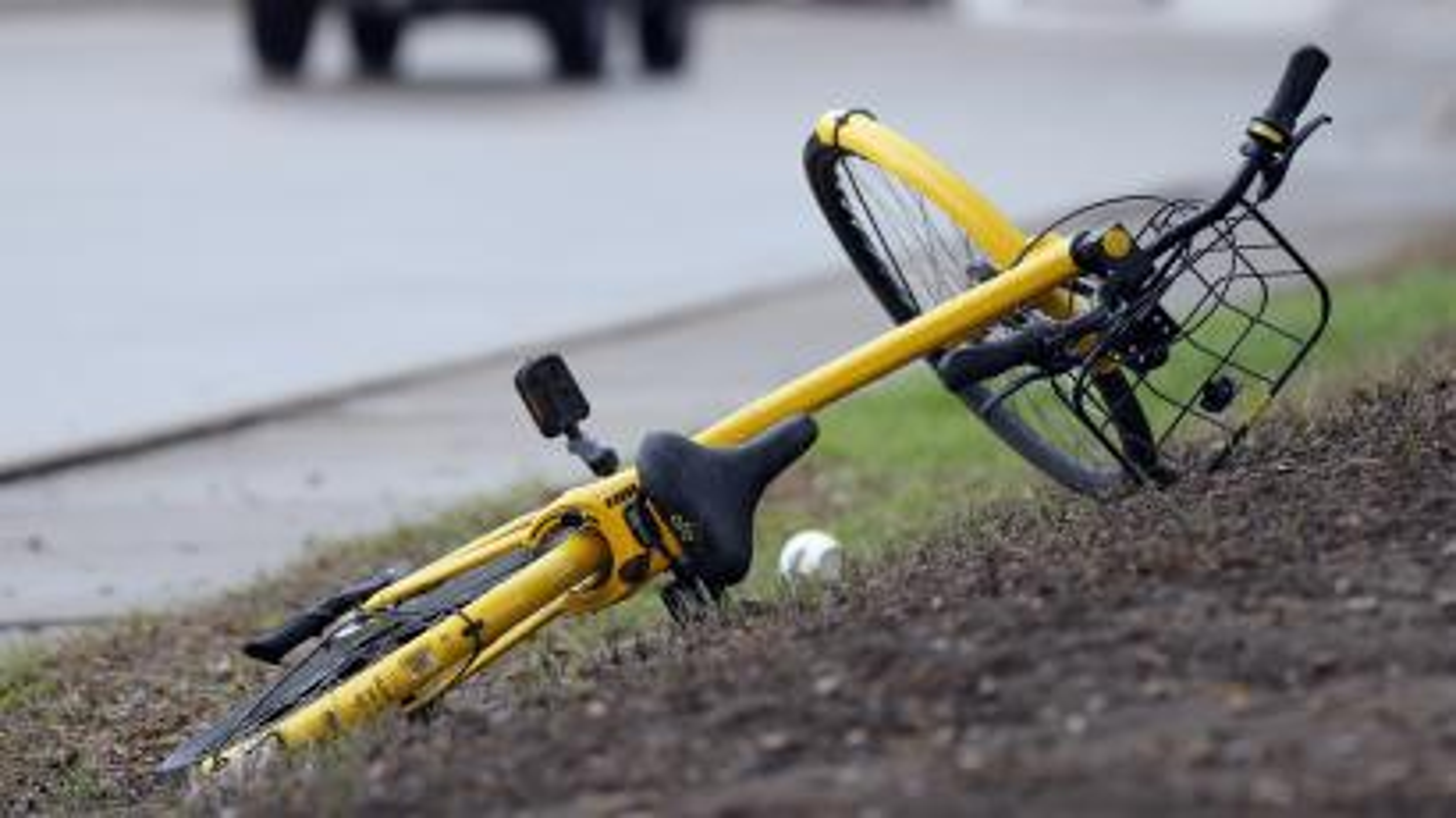 A bike on the ground.