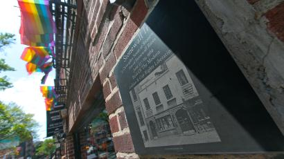 A plaque noting the site of the 1969 Stonewall Riots