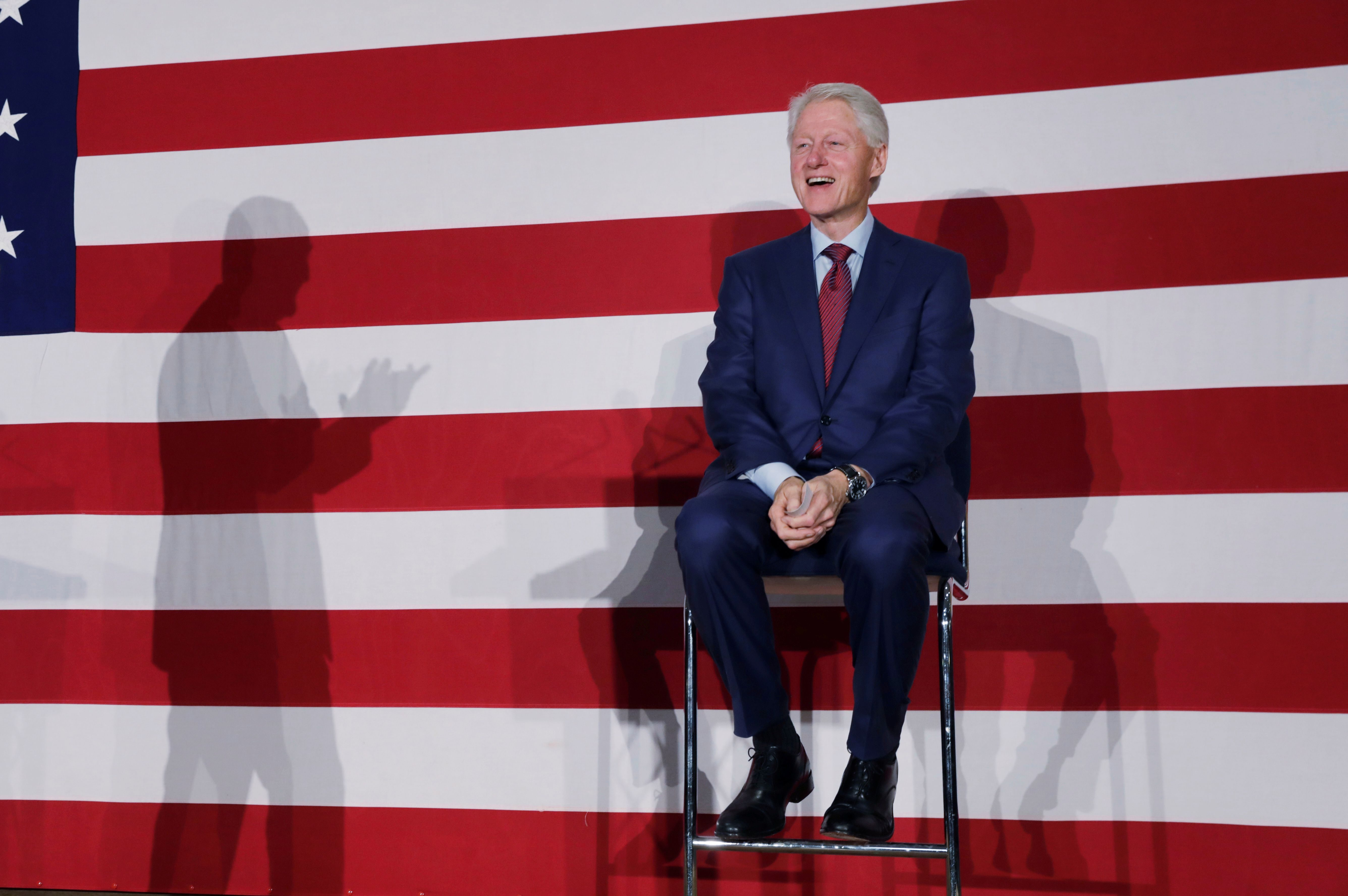 Former U.S. President Bill Clinton takes part in a campaign event for Philip Murphy, the Democratic Party nominee for Governor of New Jersey in Paramus, New Jersey, on October 24, 2017.