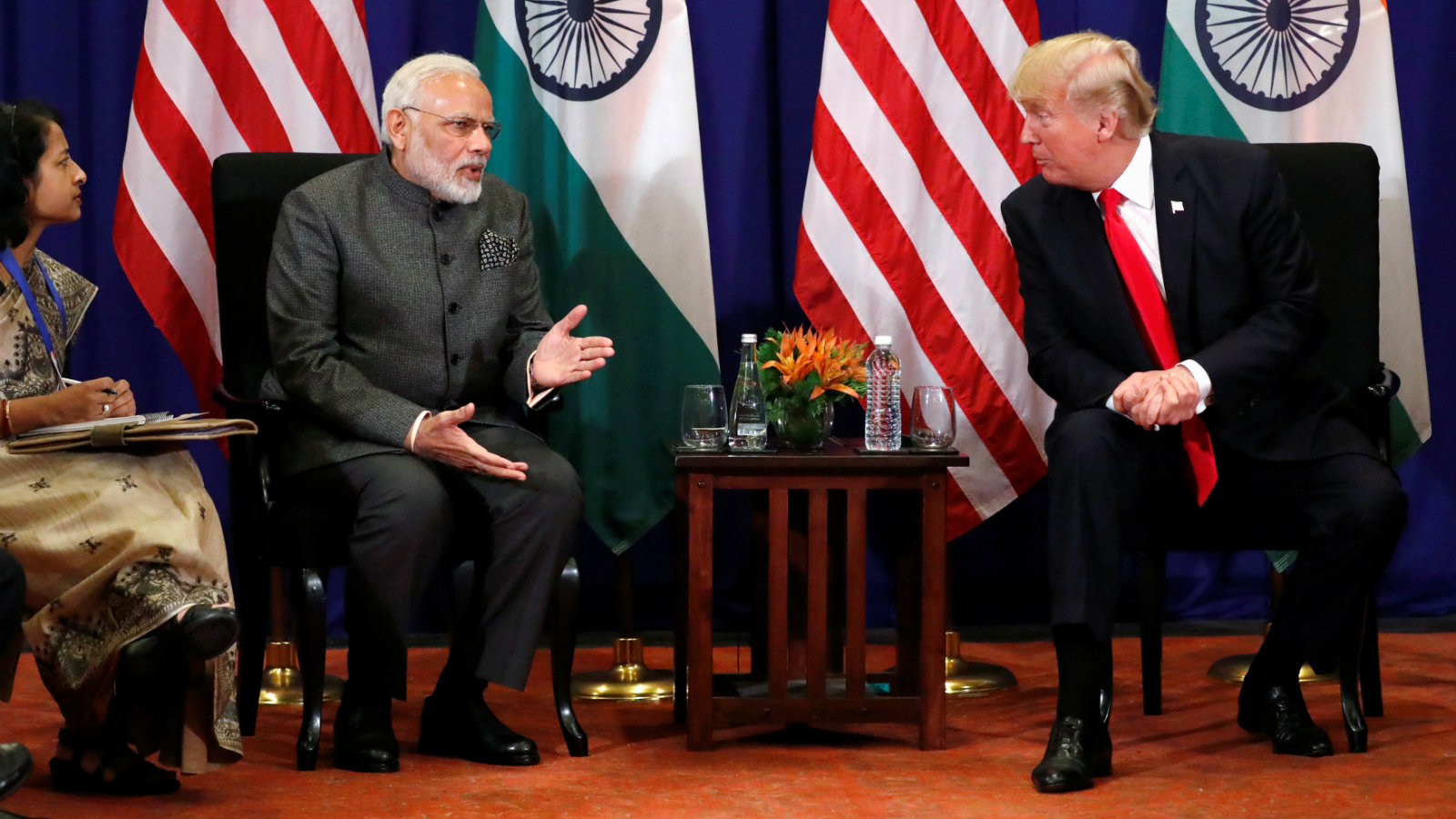 US president Donald Trump with prime minister Narendra Modi alongside the ASEAN Summit in Manila, Philippines, in November 2017.