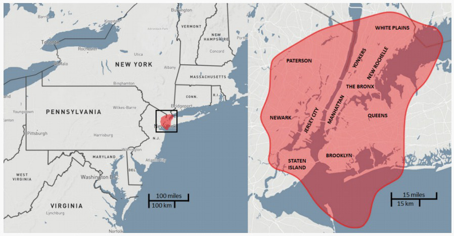 Equivalent area of destruction for a Tunguska-sized asteroid over New York City.