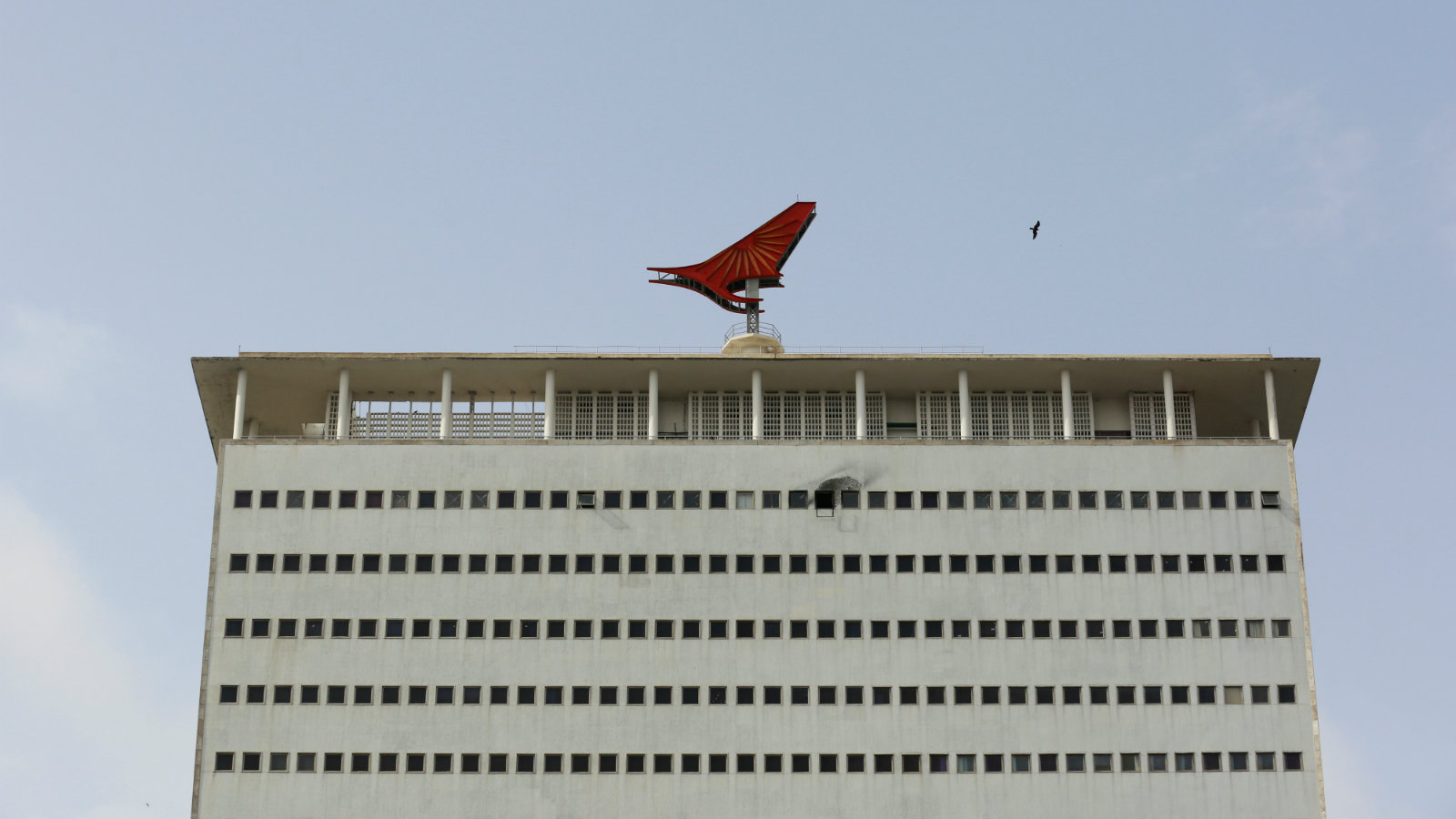 The Air India logo is seen on top of its office building in Mumbai, India, July 7, 2017. Picture taken July 7, 2017. To match Analysis AIR INDIA-PRIVATISATION/